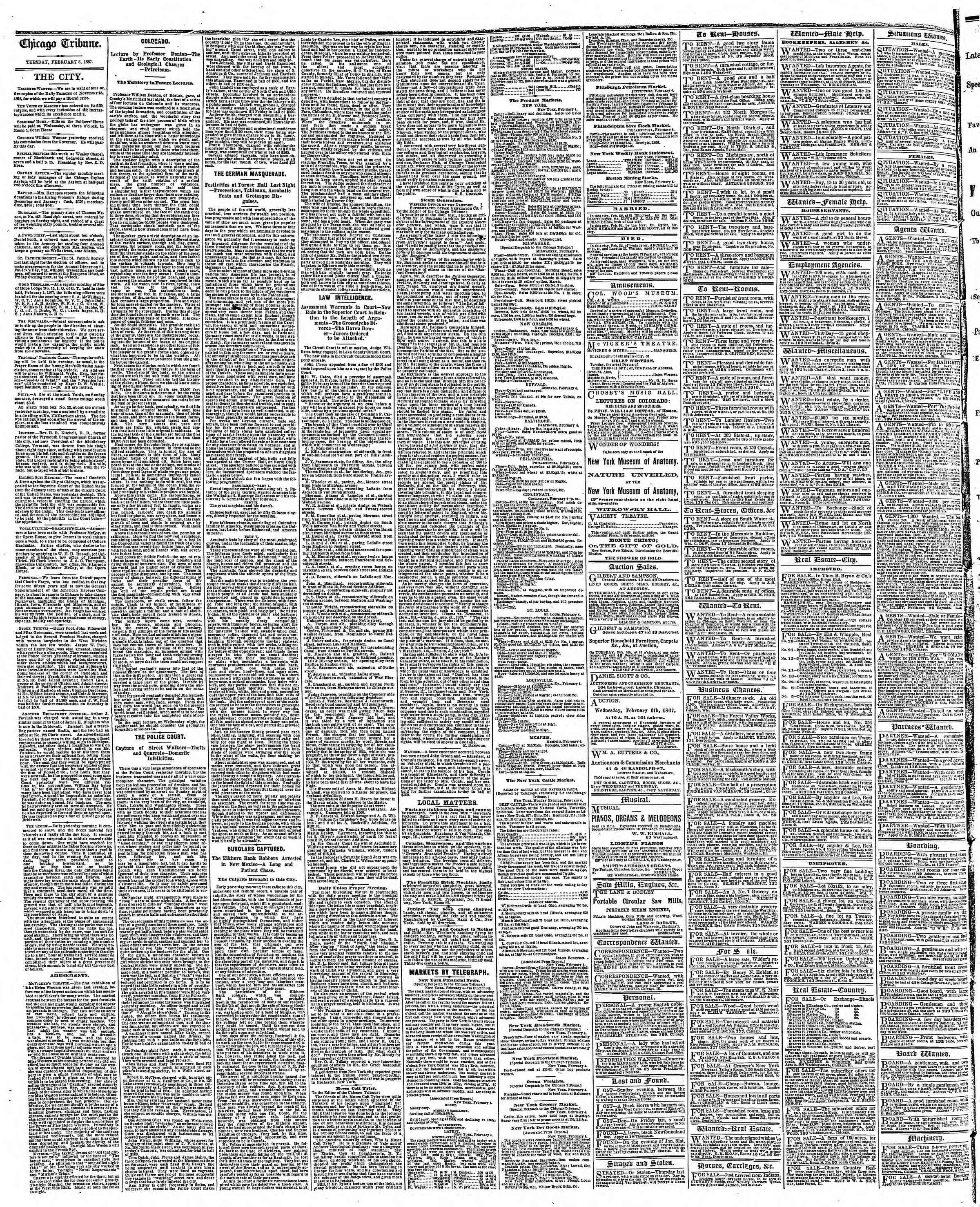 Newspaper of The Chicago Tribune dated February 5, 1867 Page 4