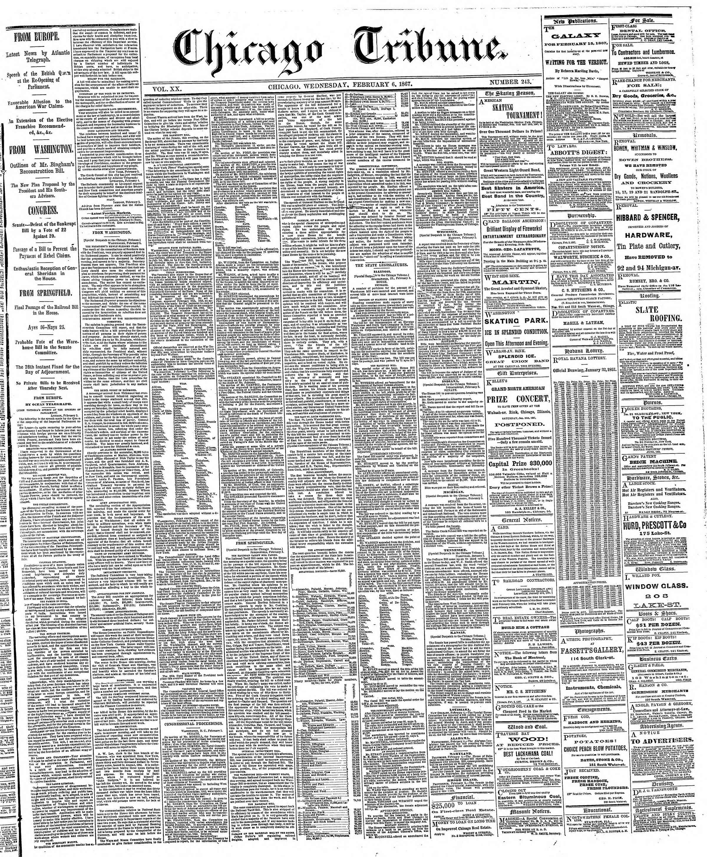 Newspaper of The Chicago Tribune dated February 6, 1867 Page 1
