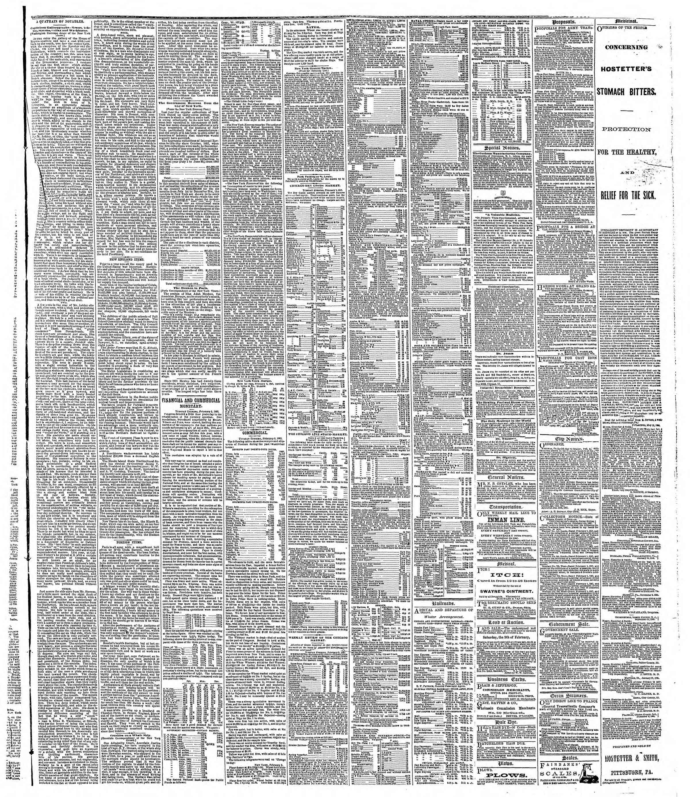 Newspaper of The Chicago Tribune dated February 6, 1867 Page 3