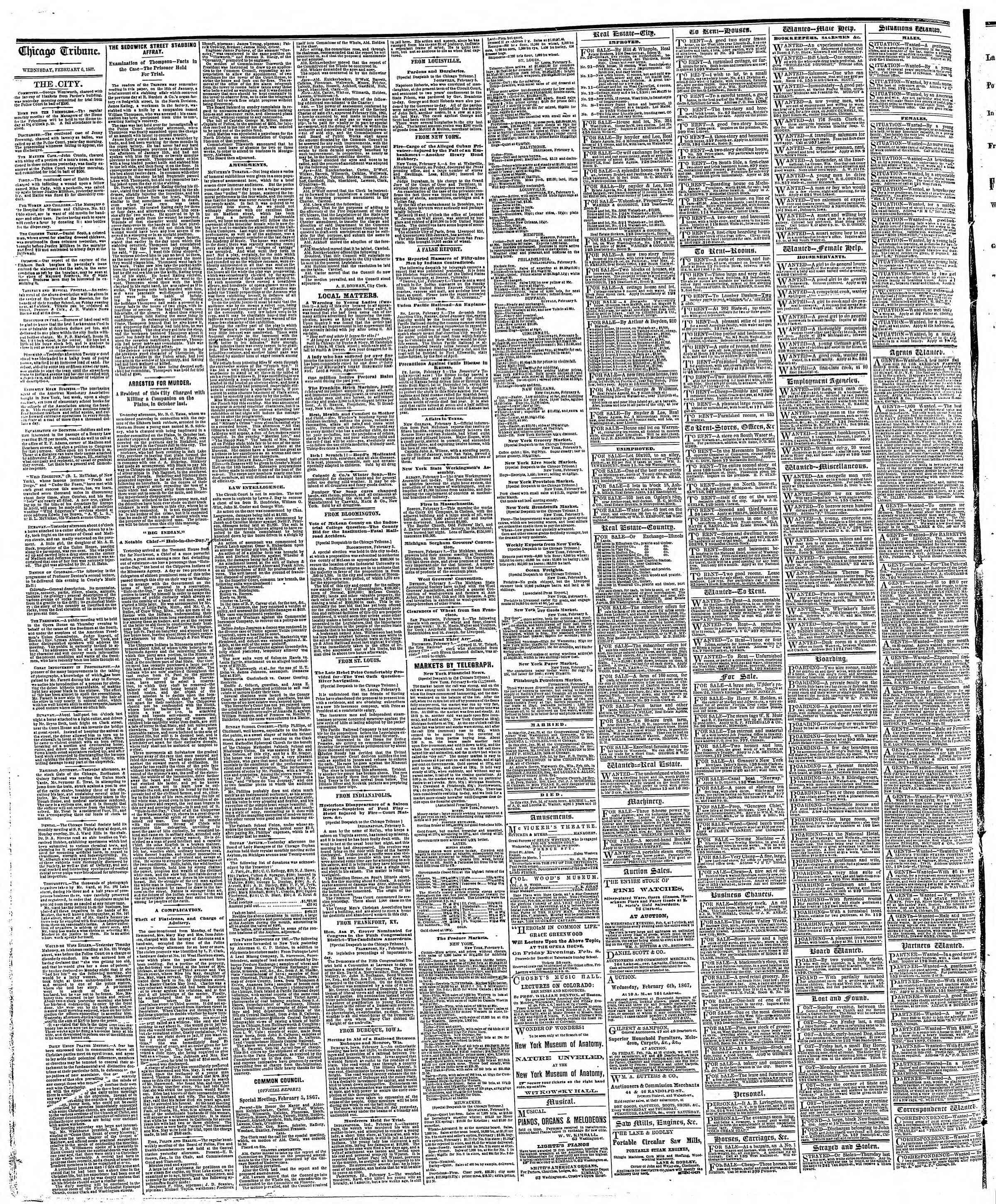 Newspaper of The Chicago Tribune dated February 6, 1867 Page 4