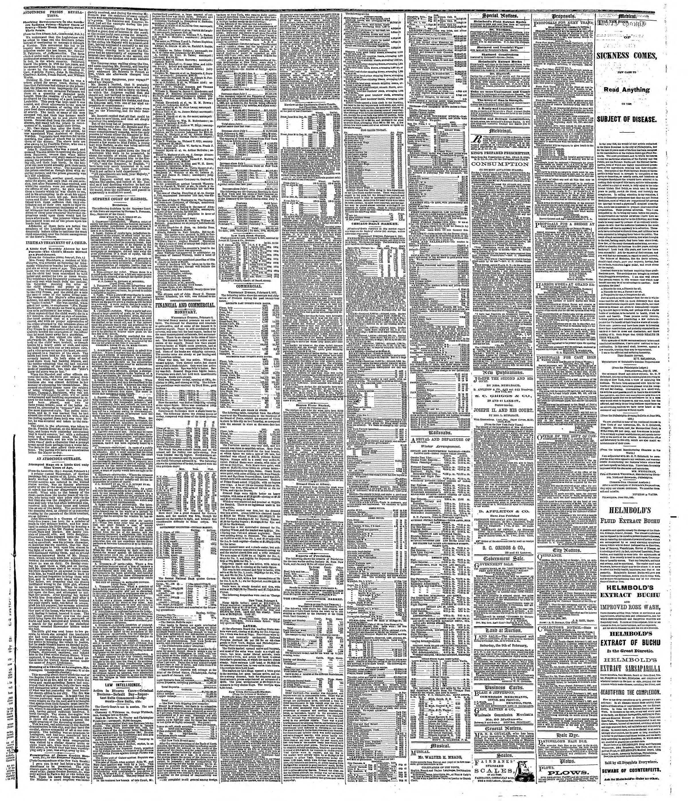 Newspaper of The Chicago Tribune dated February 7, 1867 Page 3