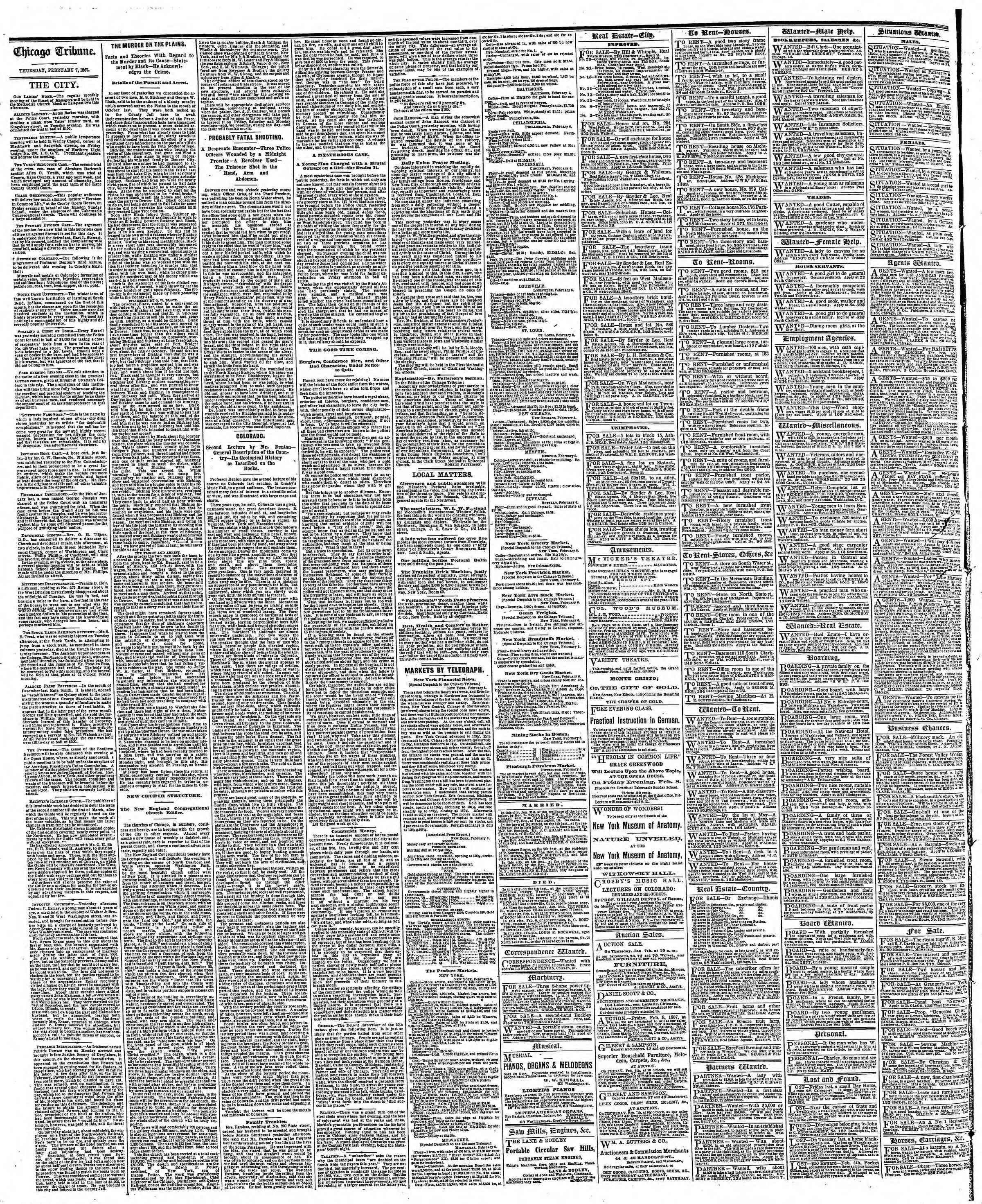 Newspaper of The Chicago Tribune dated February 7, 1867 Page 4