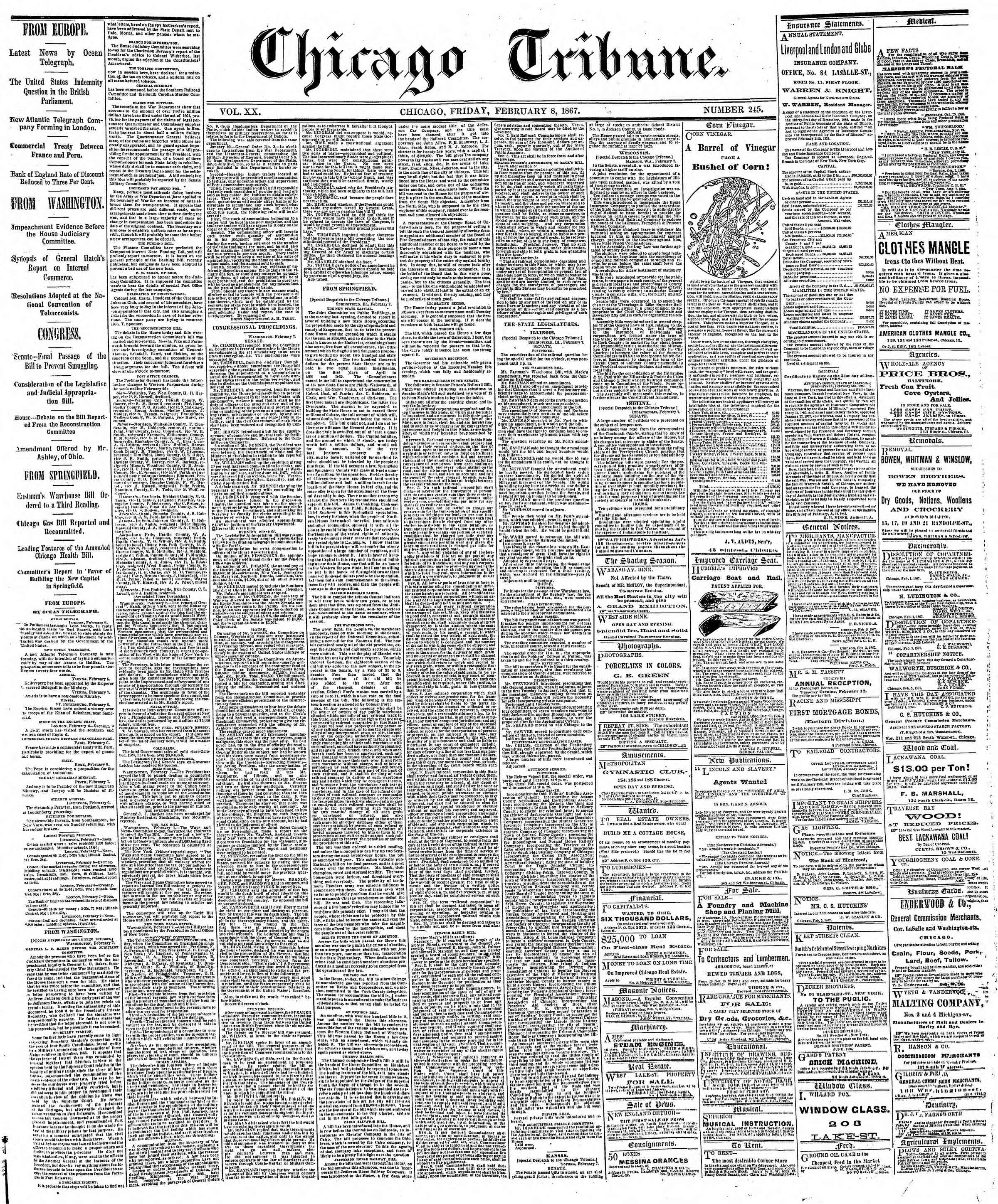 Newspaper of The Chicago Tribune dated February 8, 1867 Page 1