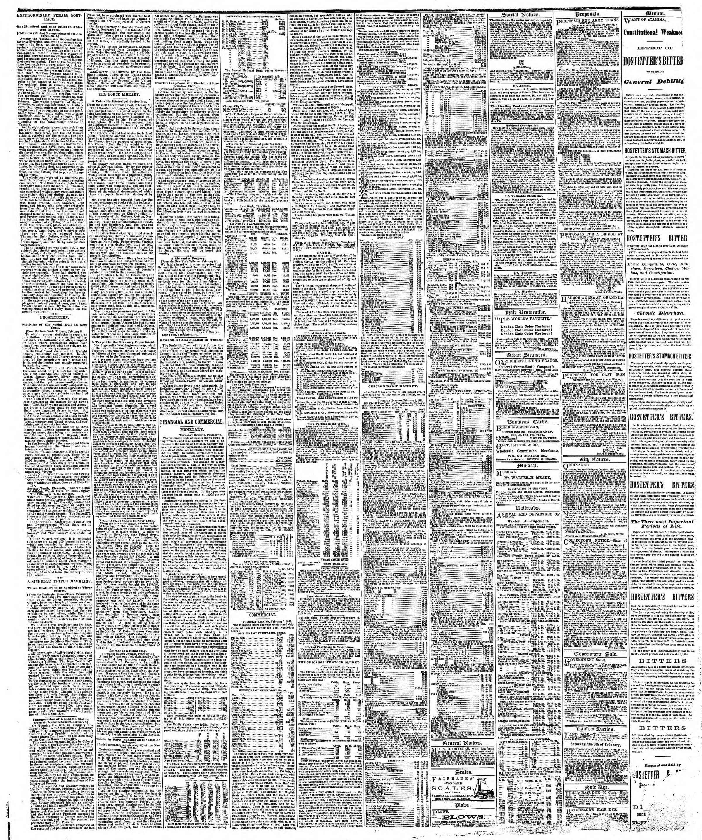 Newspaper of The Chicago Tribune dated February 8, 1867 Page 3
