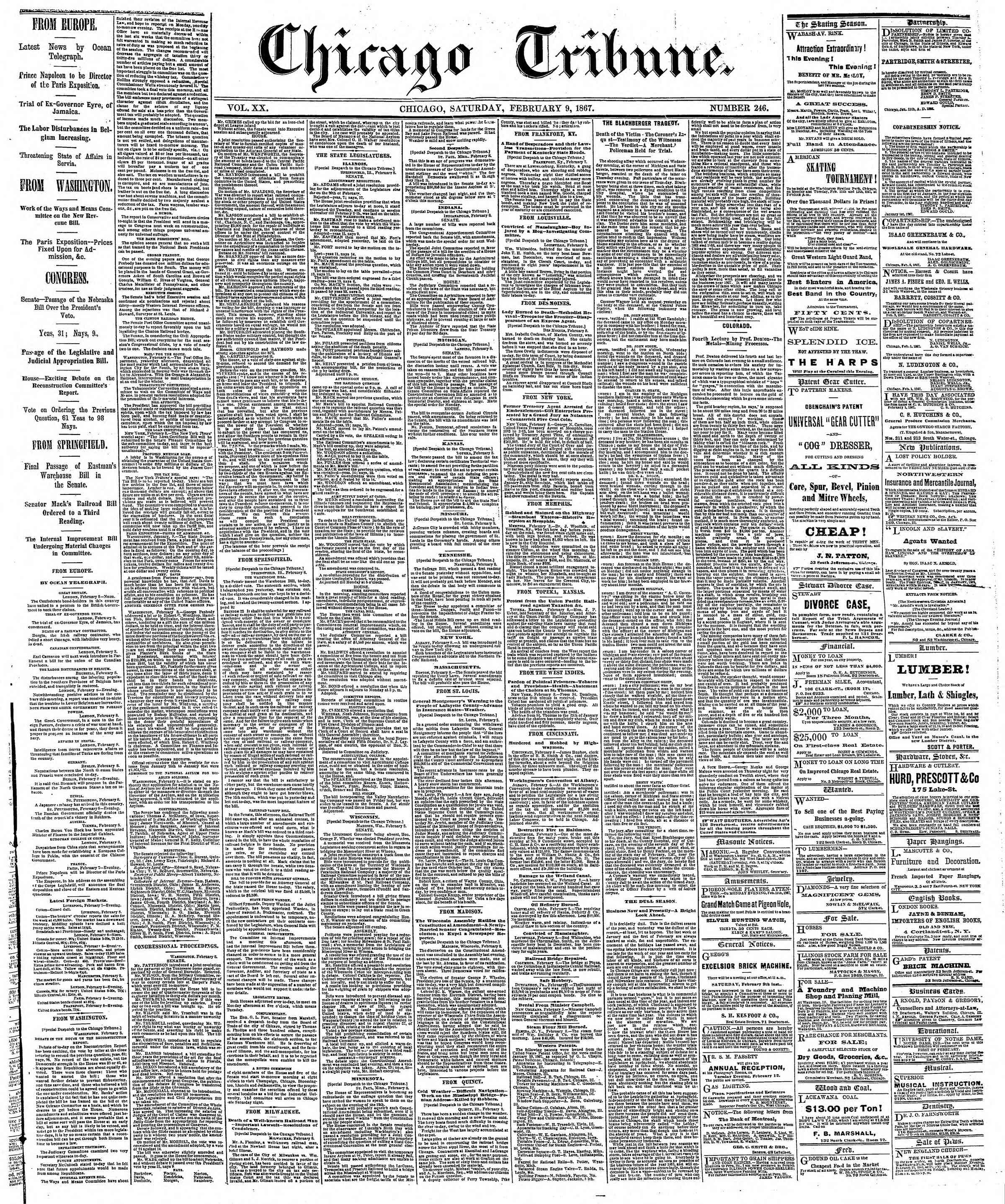Newspaper of The Chicago Tribune dated February 9, 1867 Page 1