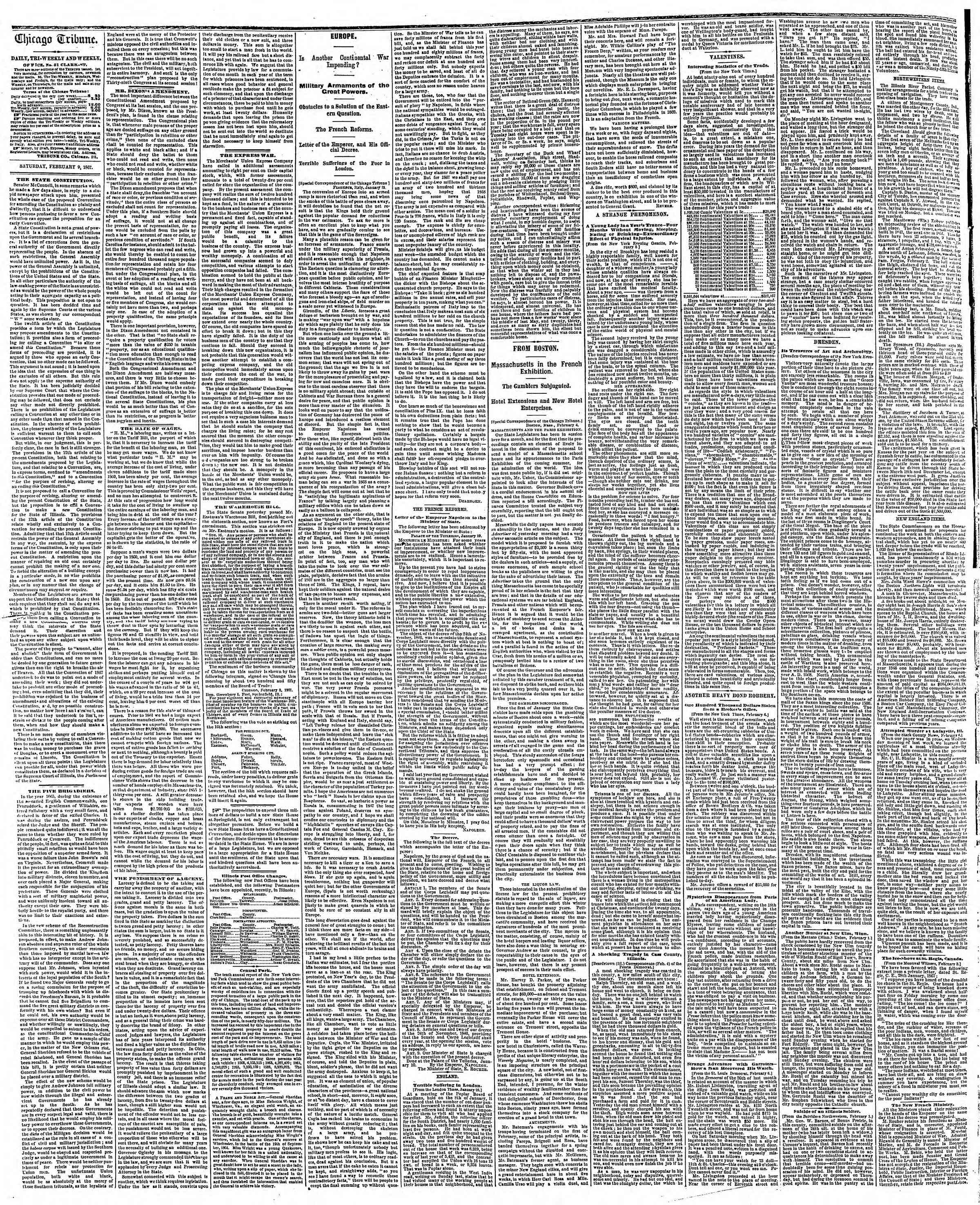 Newspaper of The Chicago Tribune dated February 9, 1867 Page 2