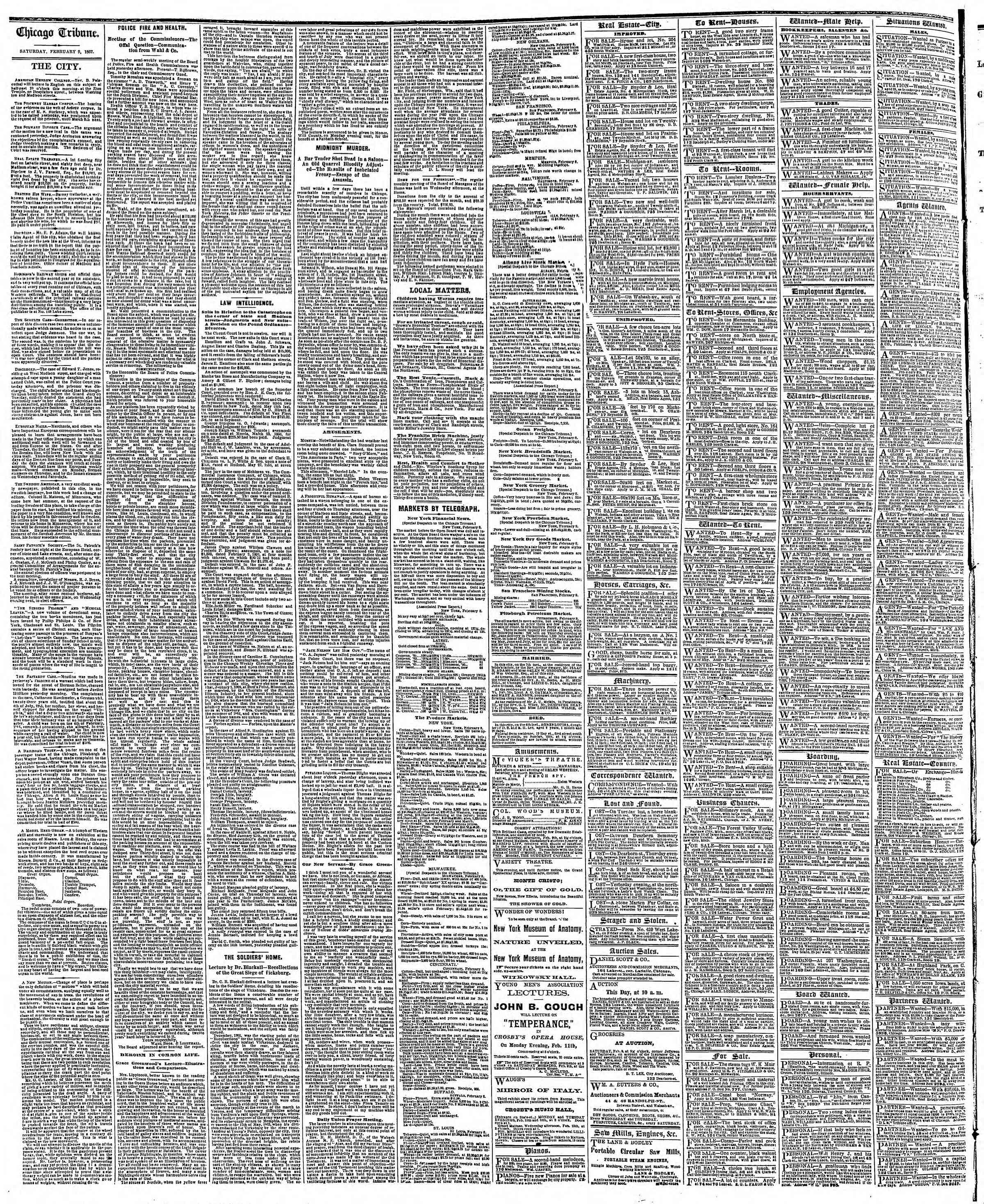 Newspaper of The Chicago Tribune dated February 9, 1867 Page 4