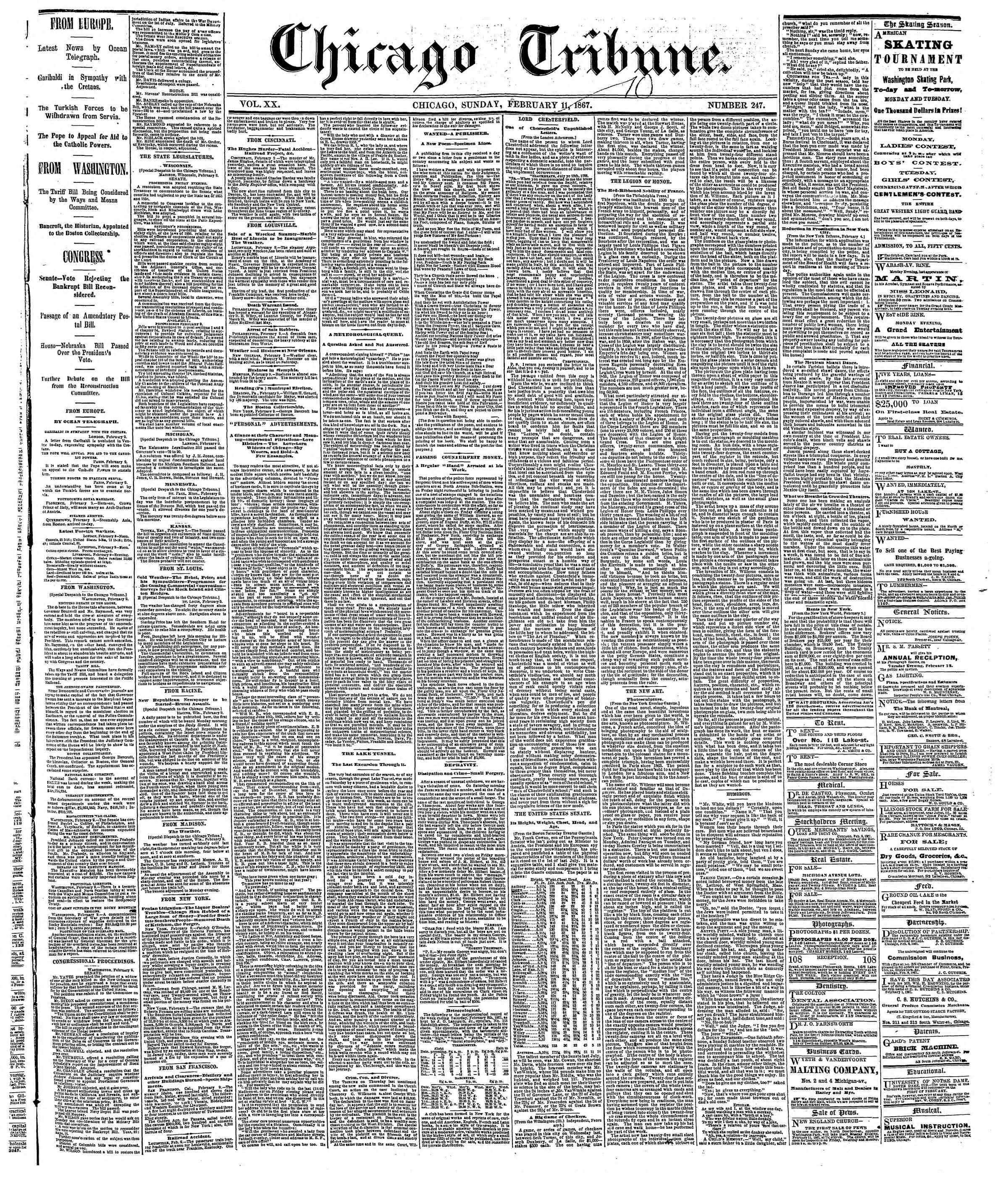 Newspaper of The Chicago Tribune dated 10 Şubat 1867 Page 1