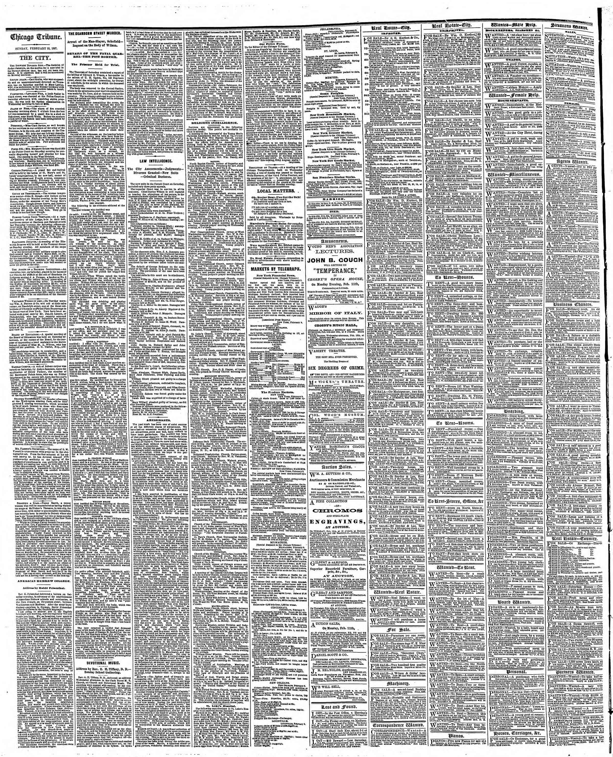 Newspaper of The Chicago Tribune dated 10 Şubat 1867 Page 4