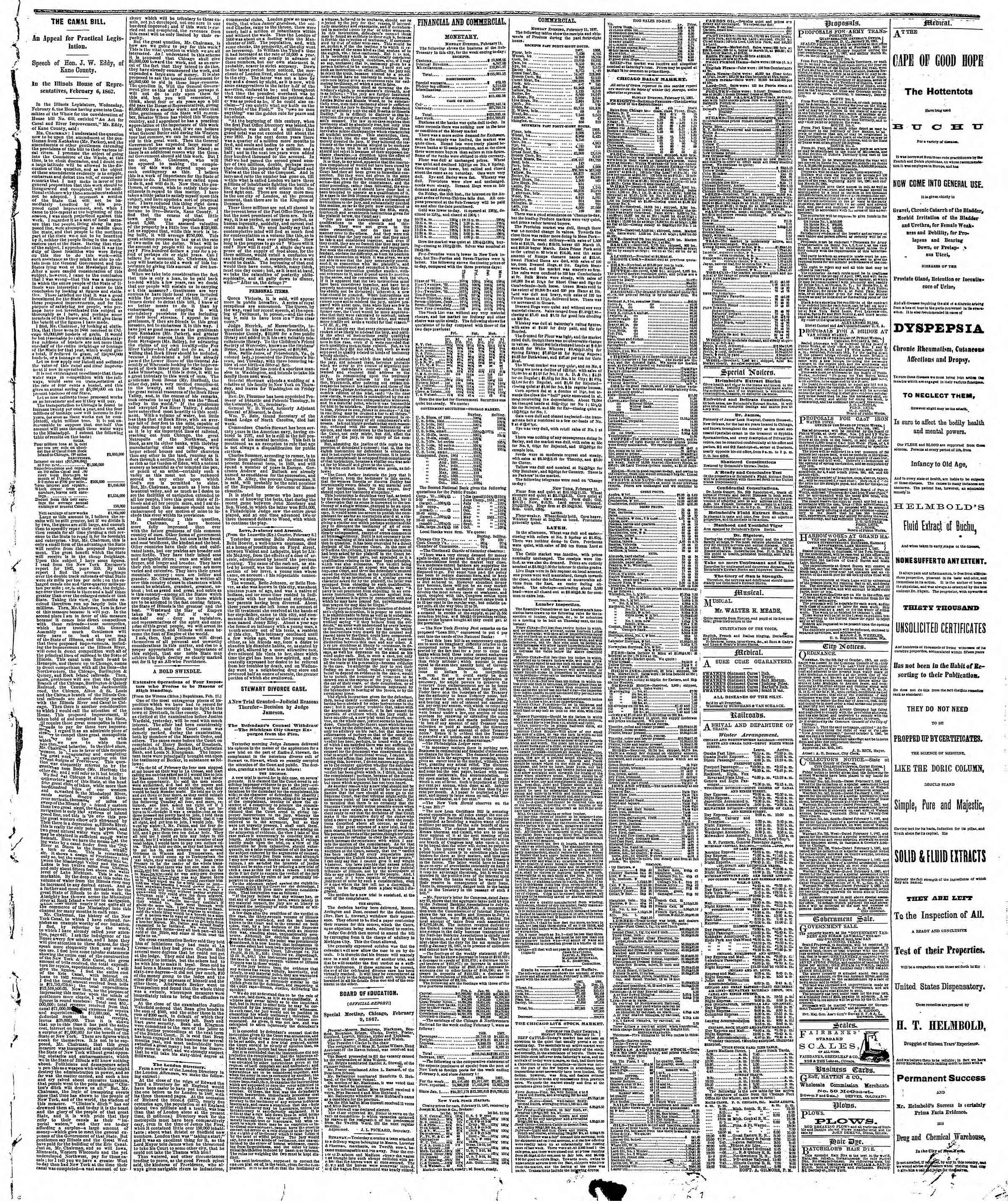 Newspaper of The Chicago Tribune dated February 12, 1867 Page 3