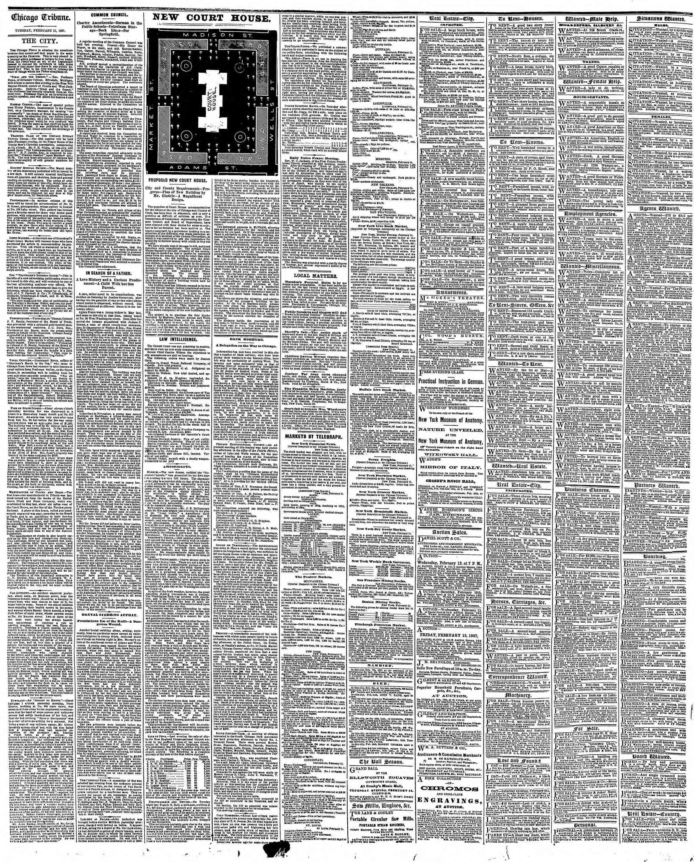 Newspaper of The Chicago Tribune dated February 12, 1867 Page 4