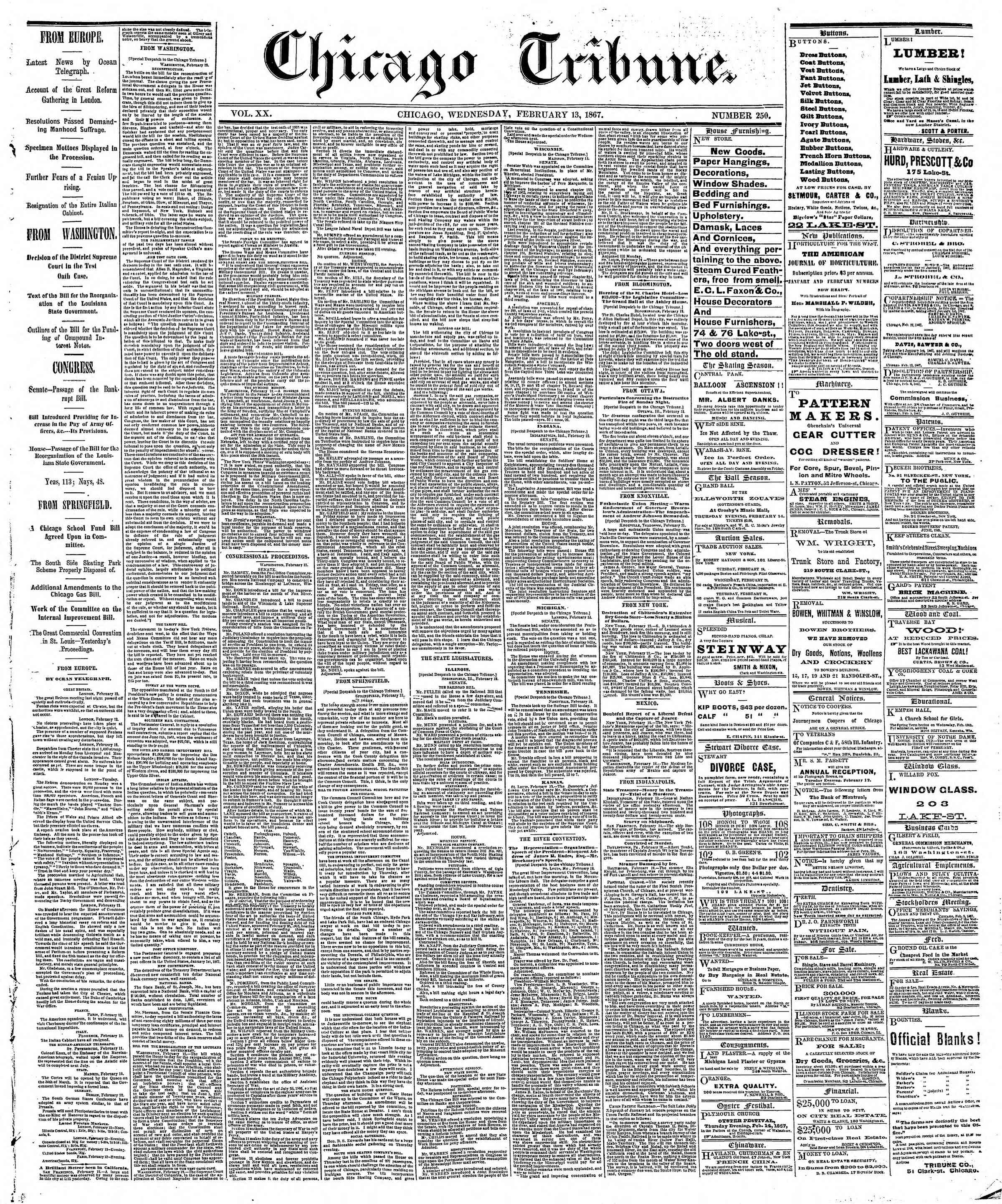 Newspaper of The Chicago Tribune dated February 13, 1867 Page 1