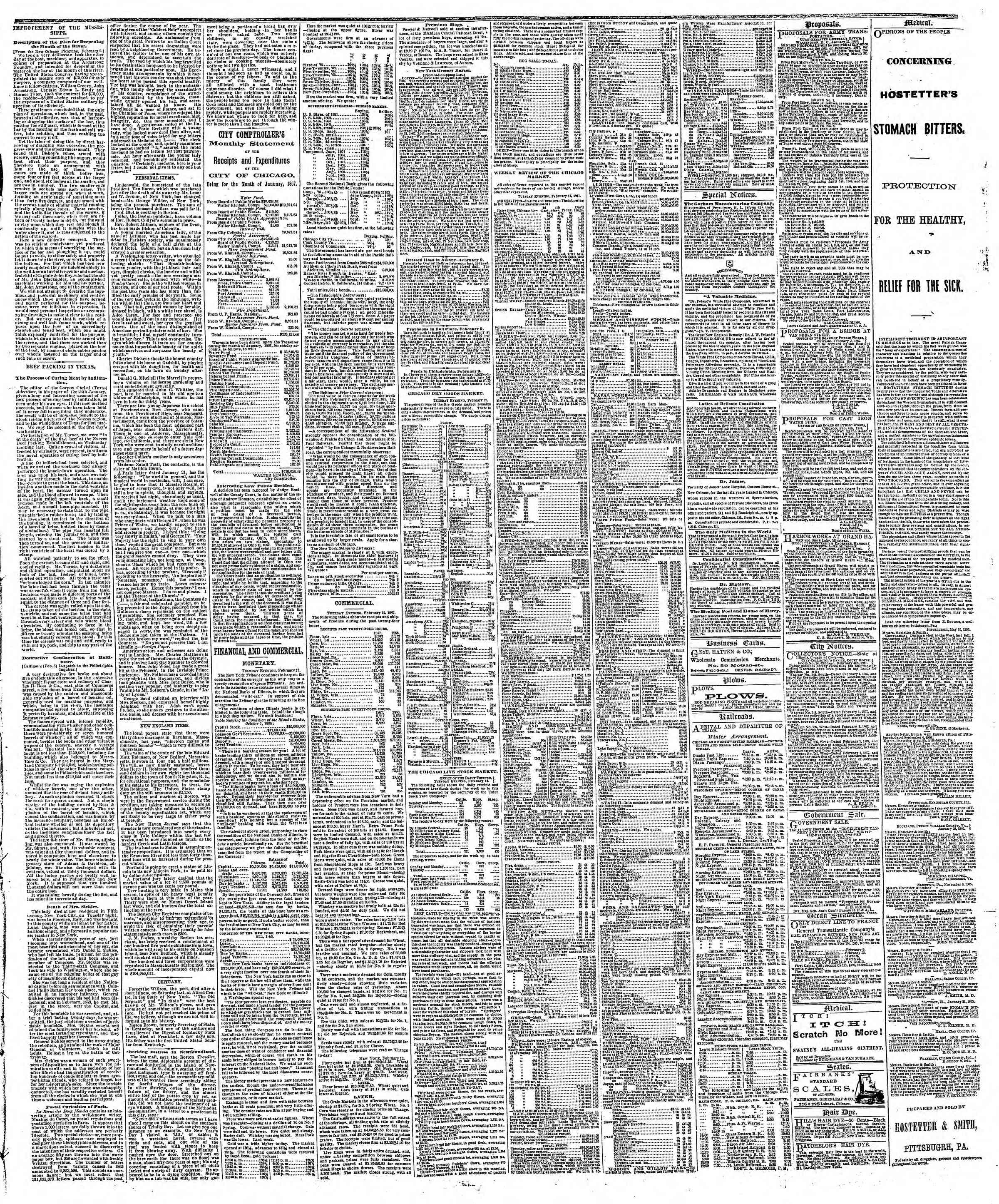 Newspaper of The Chicago Tribune dated February 13, 1867 Page 3