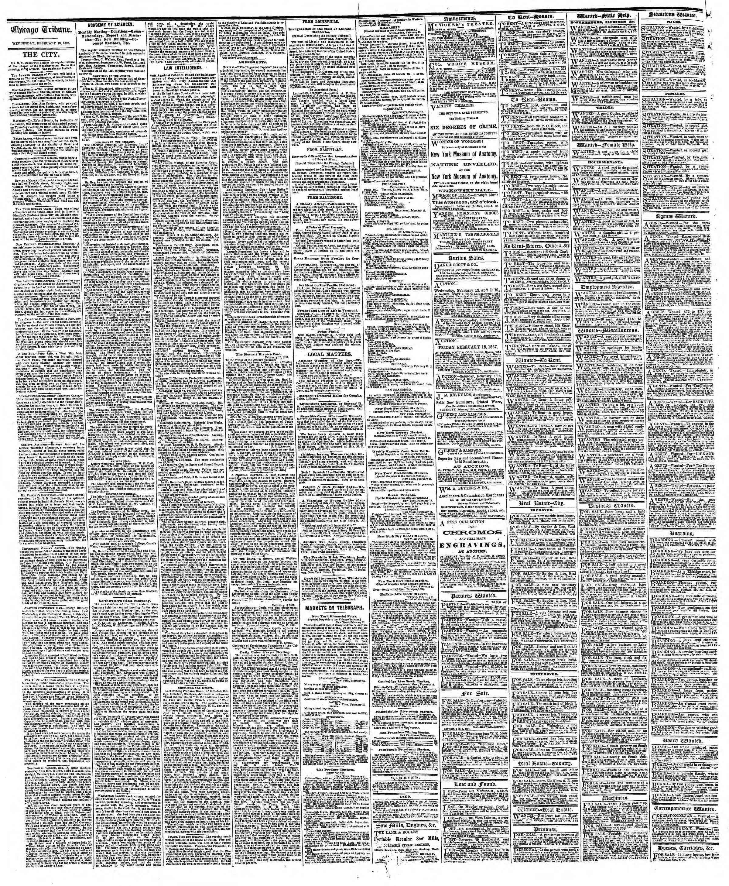 Newspaper of The Chicago Tribune dated 13 Şubat 1867 Page 4