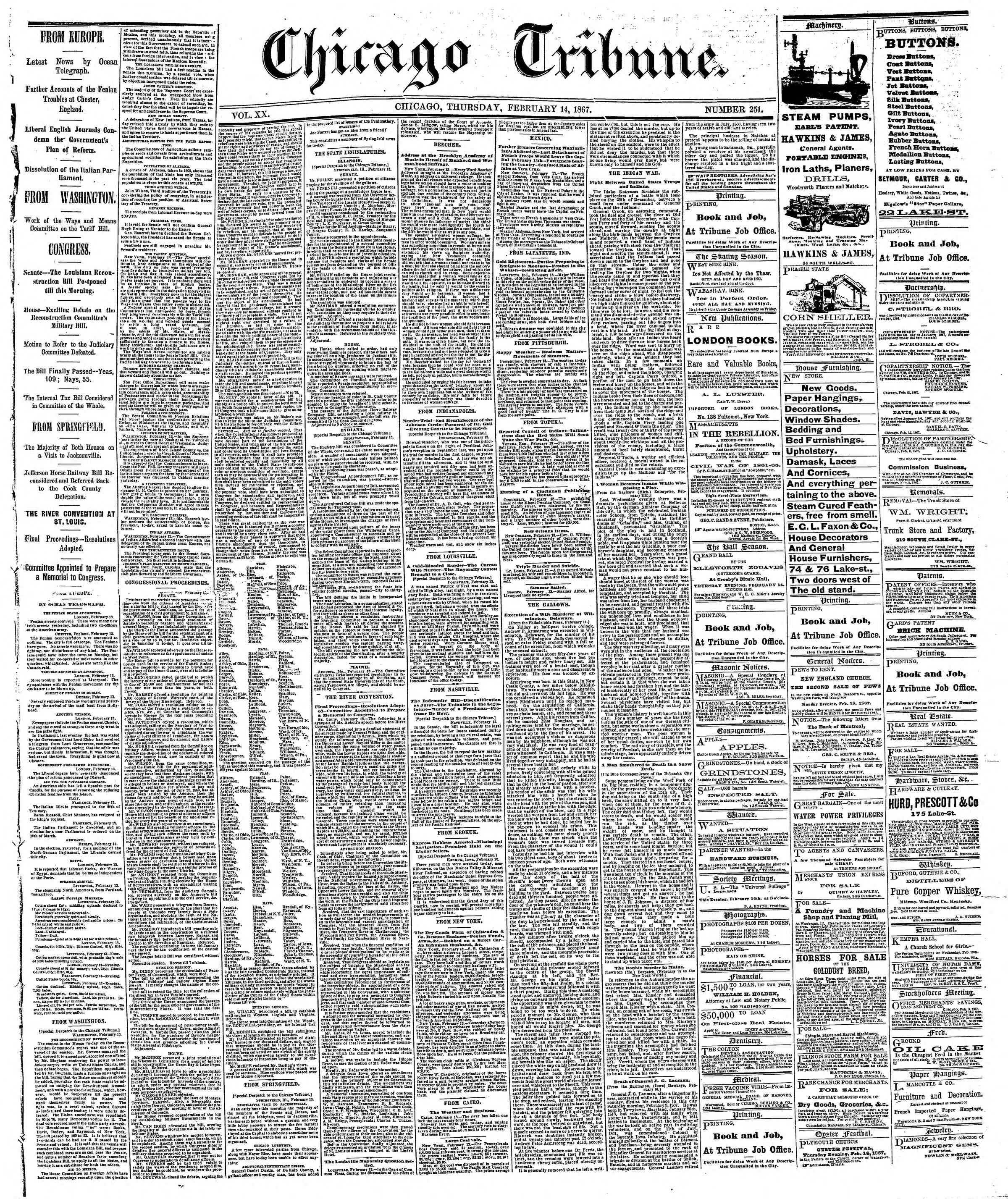 Newspaper of The Chicago Tribune dated 14 Şubat 1867 Page 1
