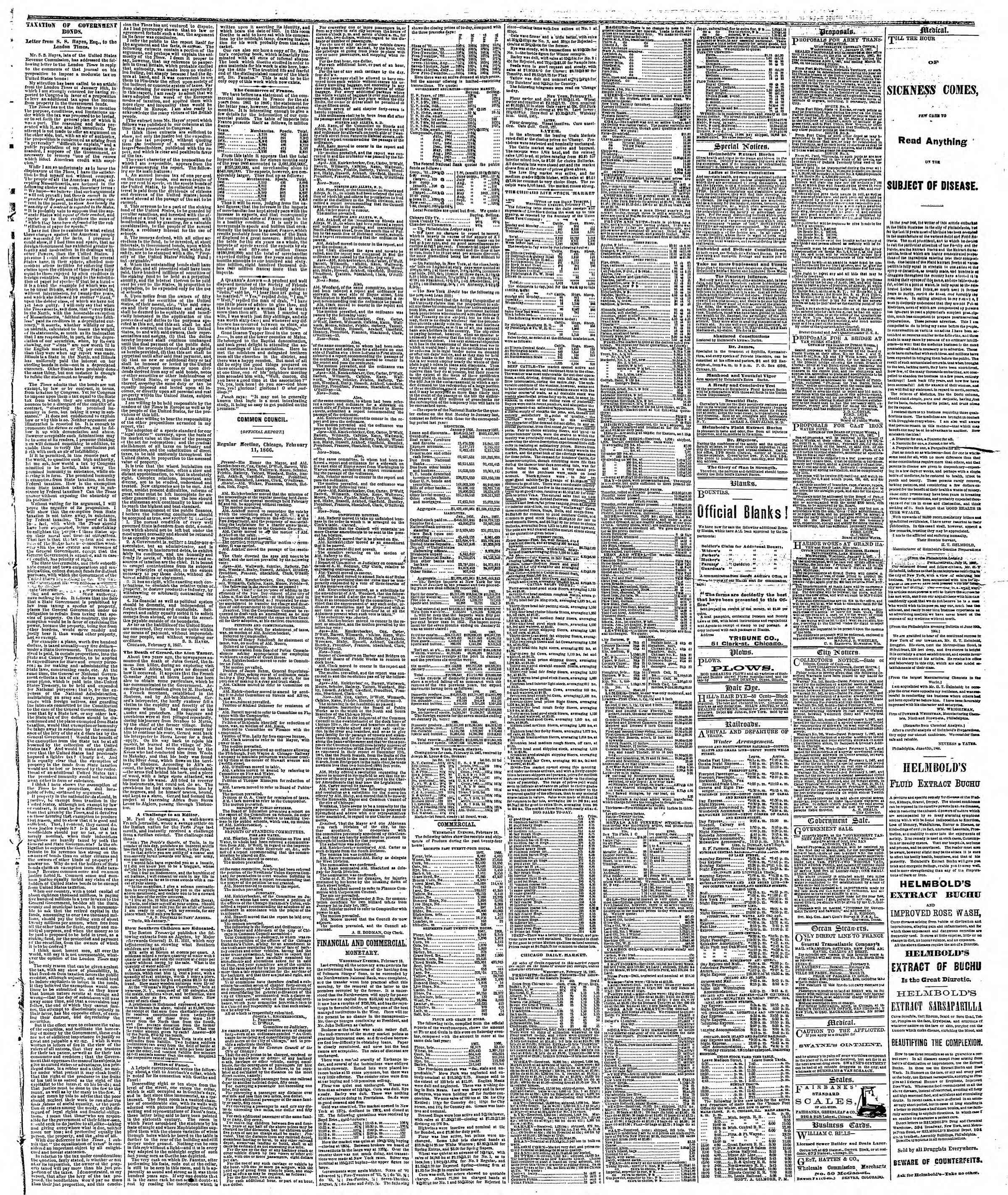 Newspaper of The Chicago Tribune dated February 14, 1867 Page 3