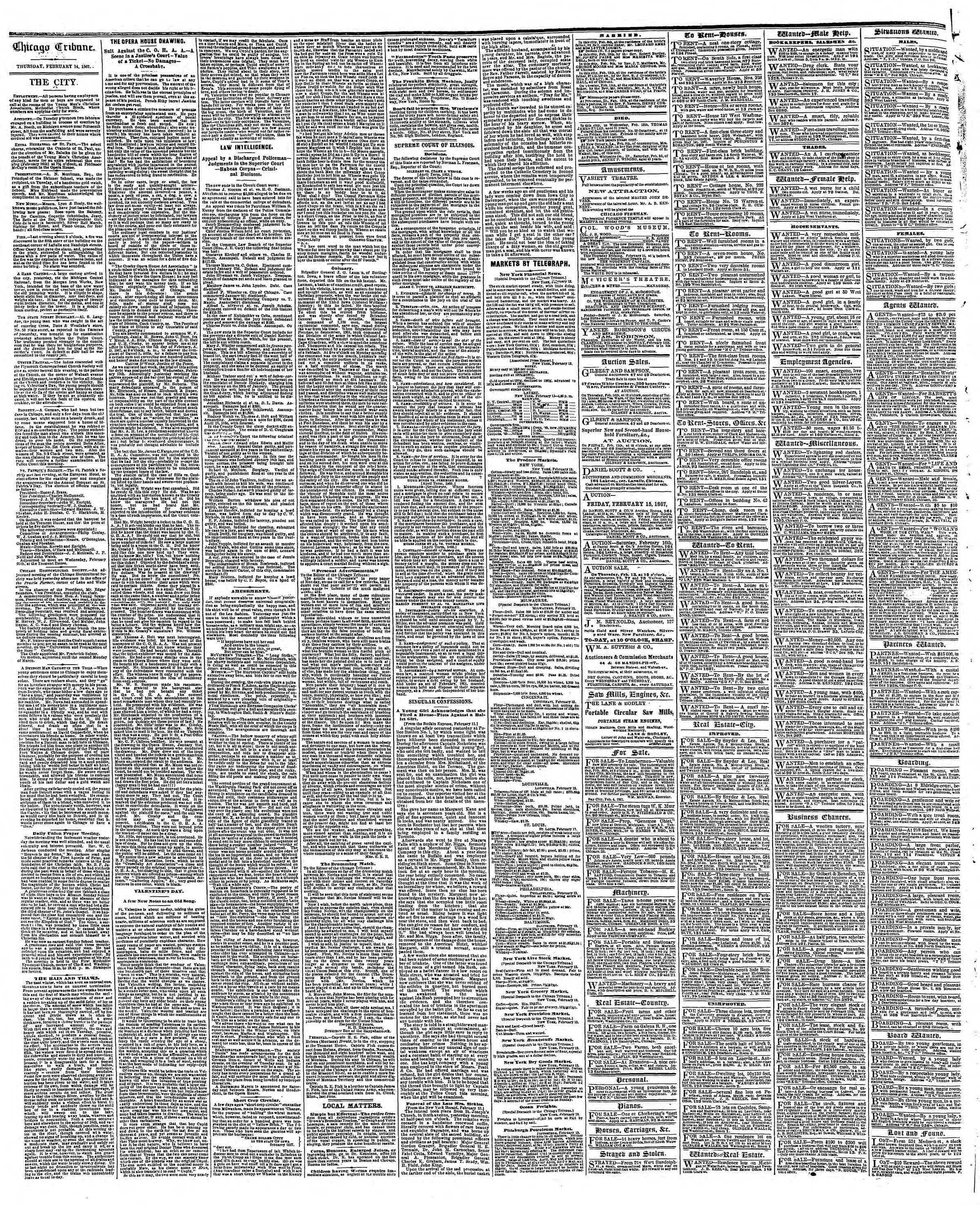 Newspaper of The Chicago Tribune dated February 14, 1867 Page 4