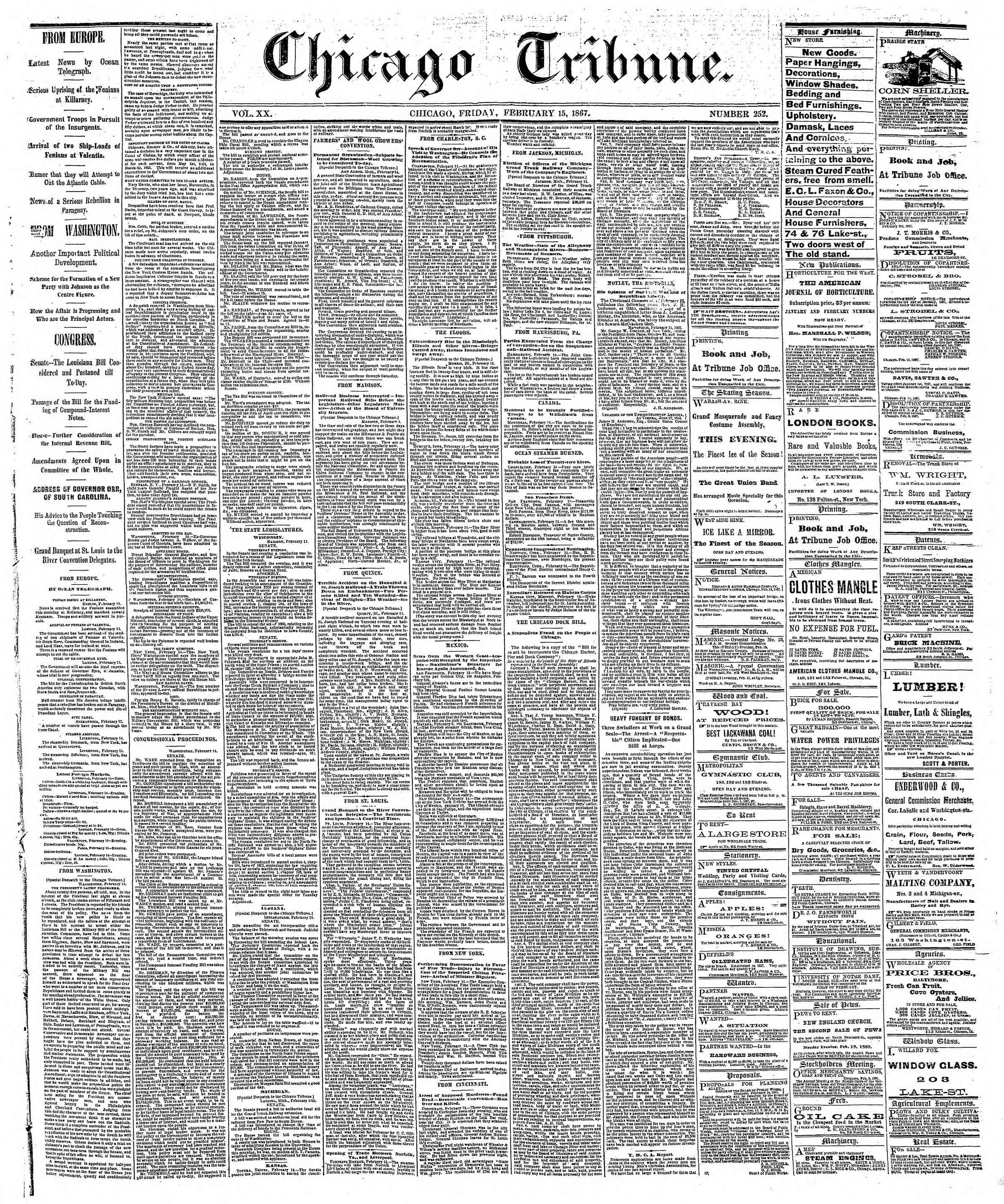 Newspaper of The Chicago Tribune dated February 15, 1867 Page 1