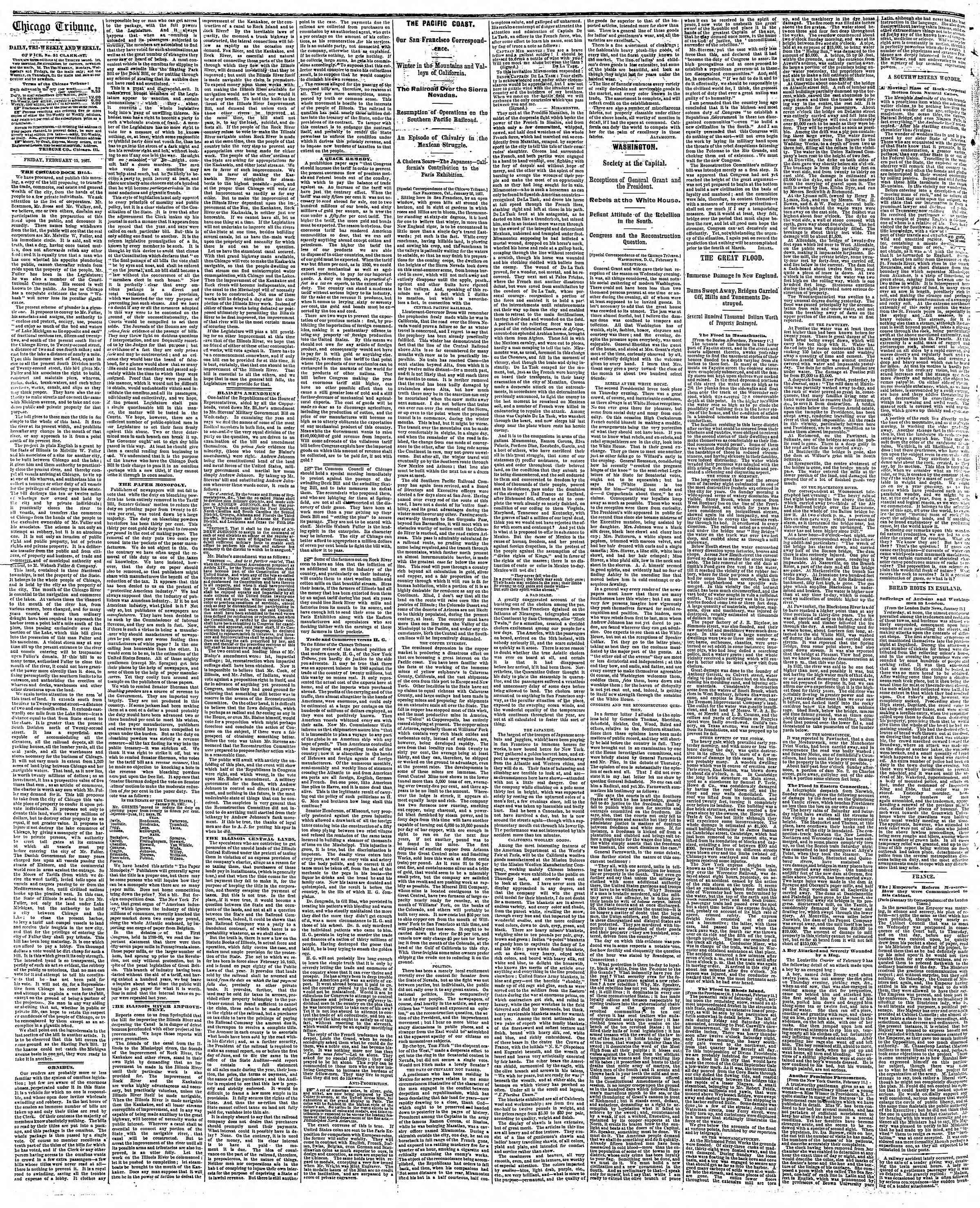 Newspaper of The Chicago Tribune dated February 15, 1867 Page 2