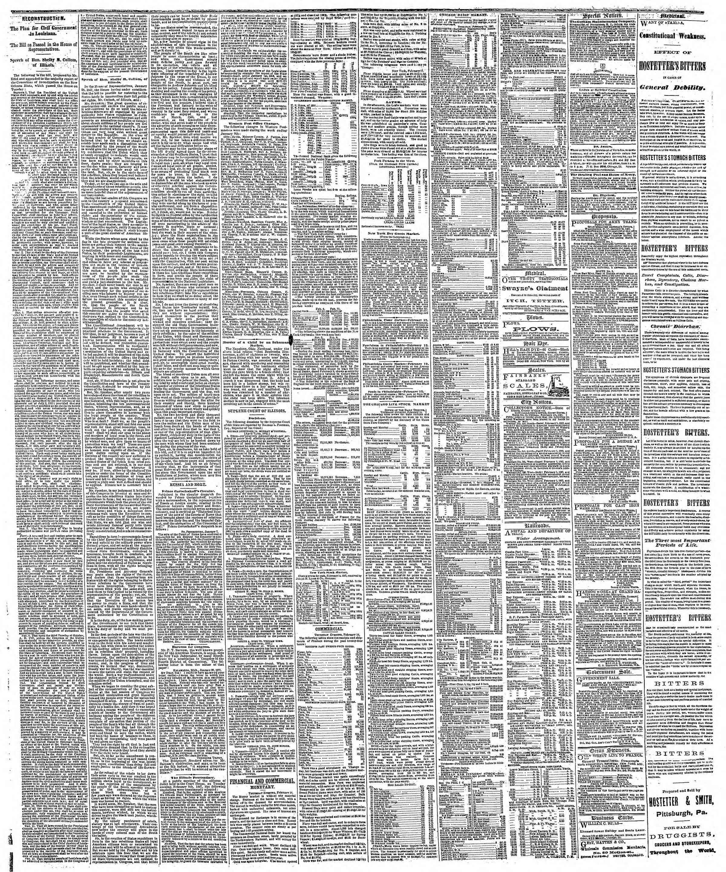 Newspaper of The Chicago Tribune dated February 15, 1867 Page 3