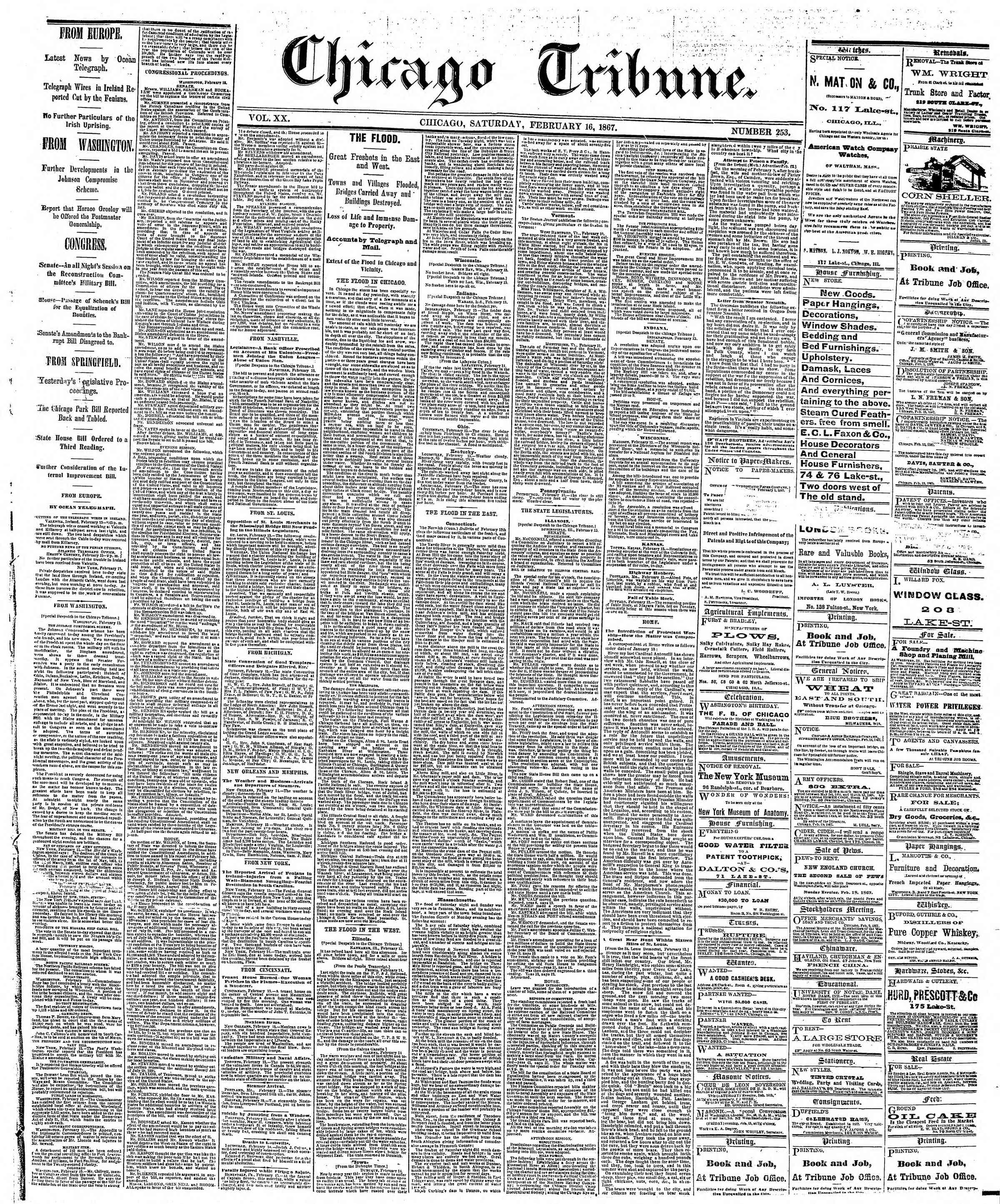 Newspaper of The Chicago Tribune dated February 16, 1867 Page 1