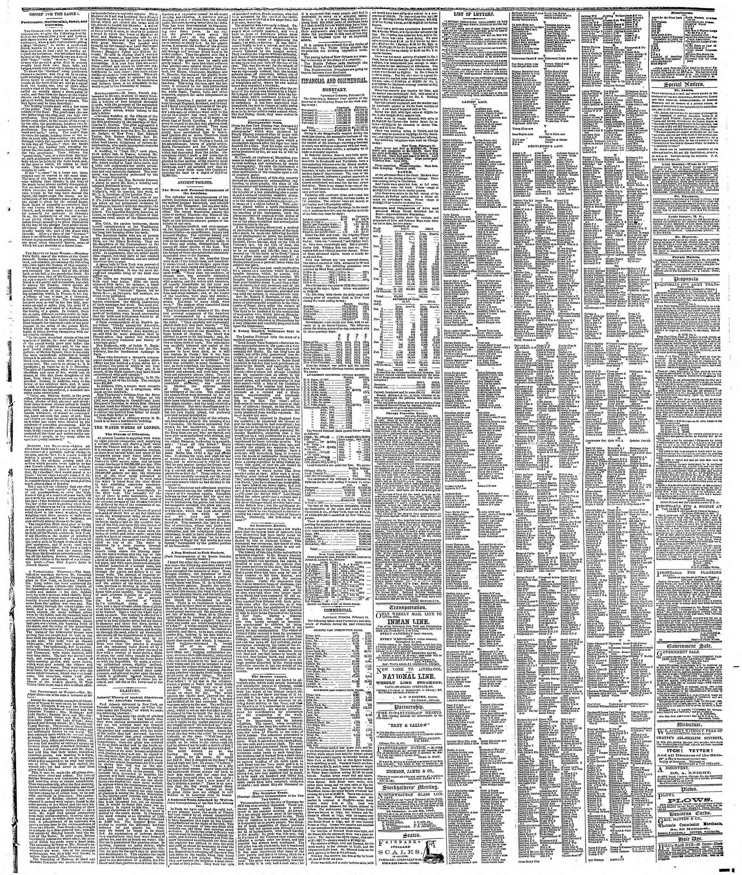 Newspaper of The Chicago Tribune dated February 17, 1867 Page 3