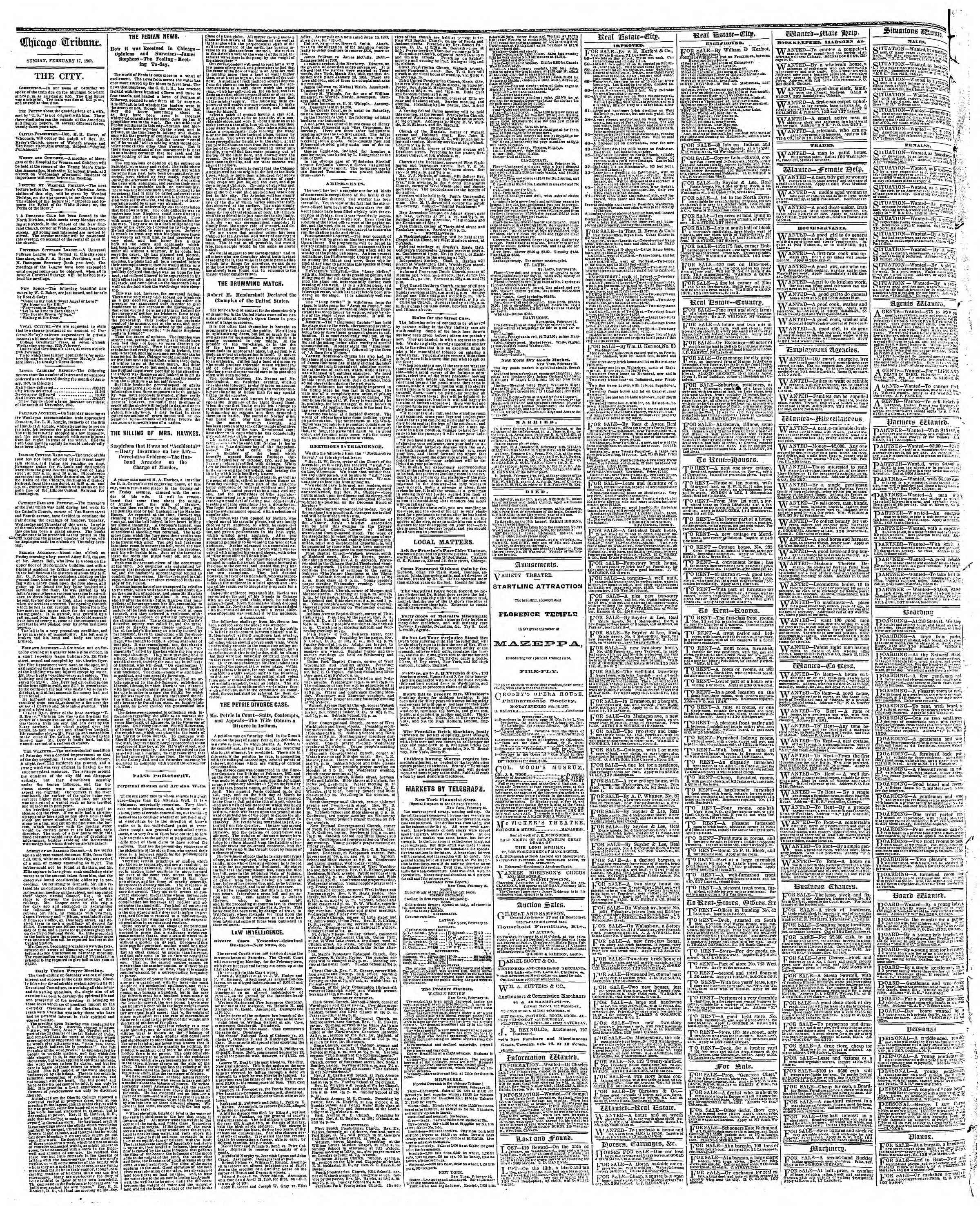 Newspaper of The Chicago Tribune dated February 17, 1867 Page 4