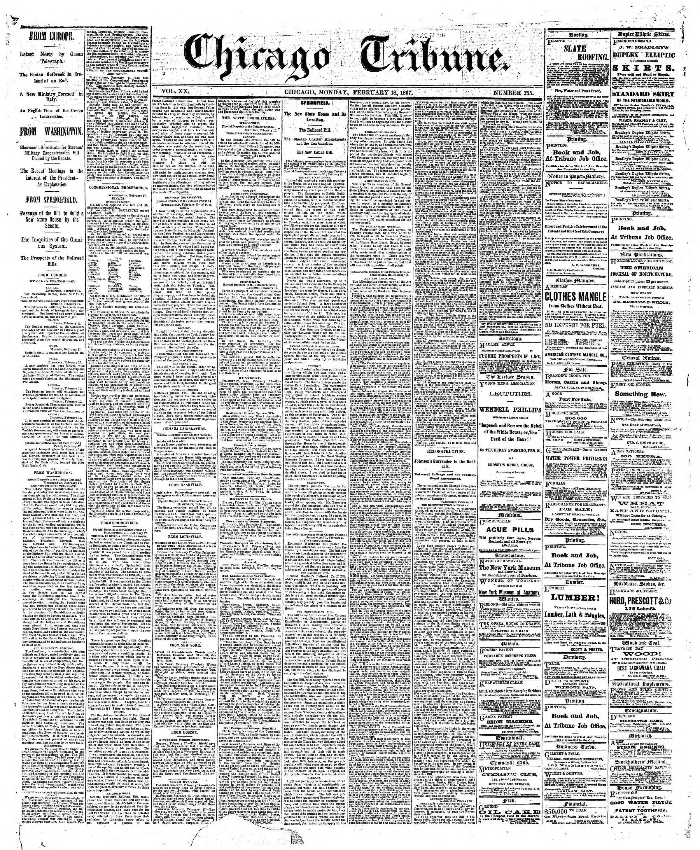Newspaper of The Chicago Tribune dated February 18, 1867 Page 1