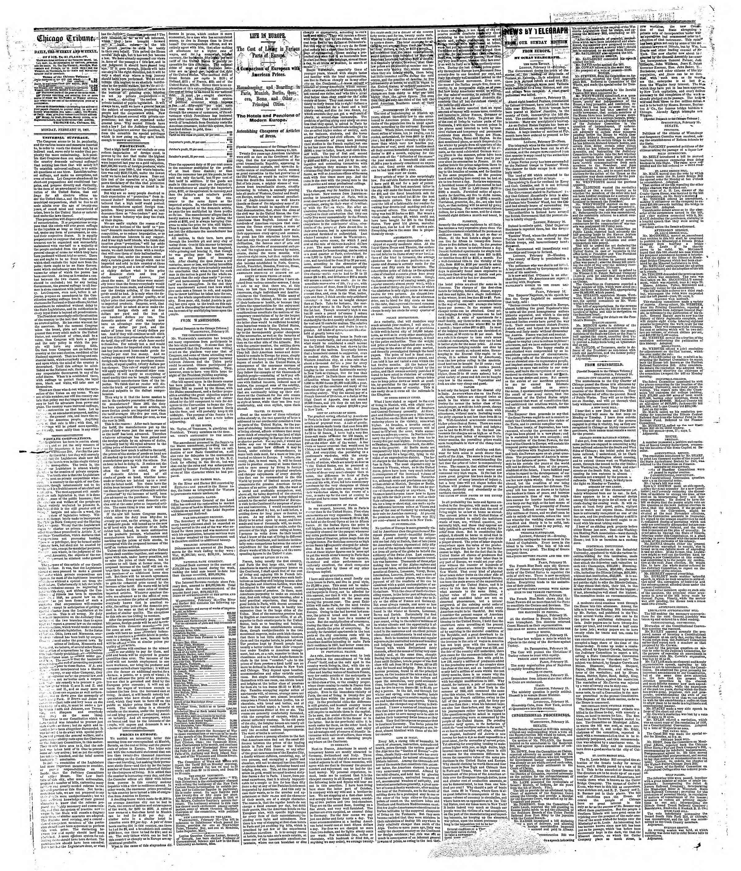 Newspaper of The Chicago Tribune dated February 18, 1867 Page 2