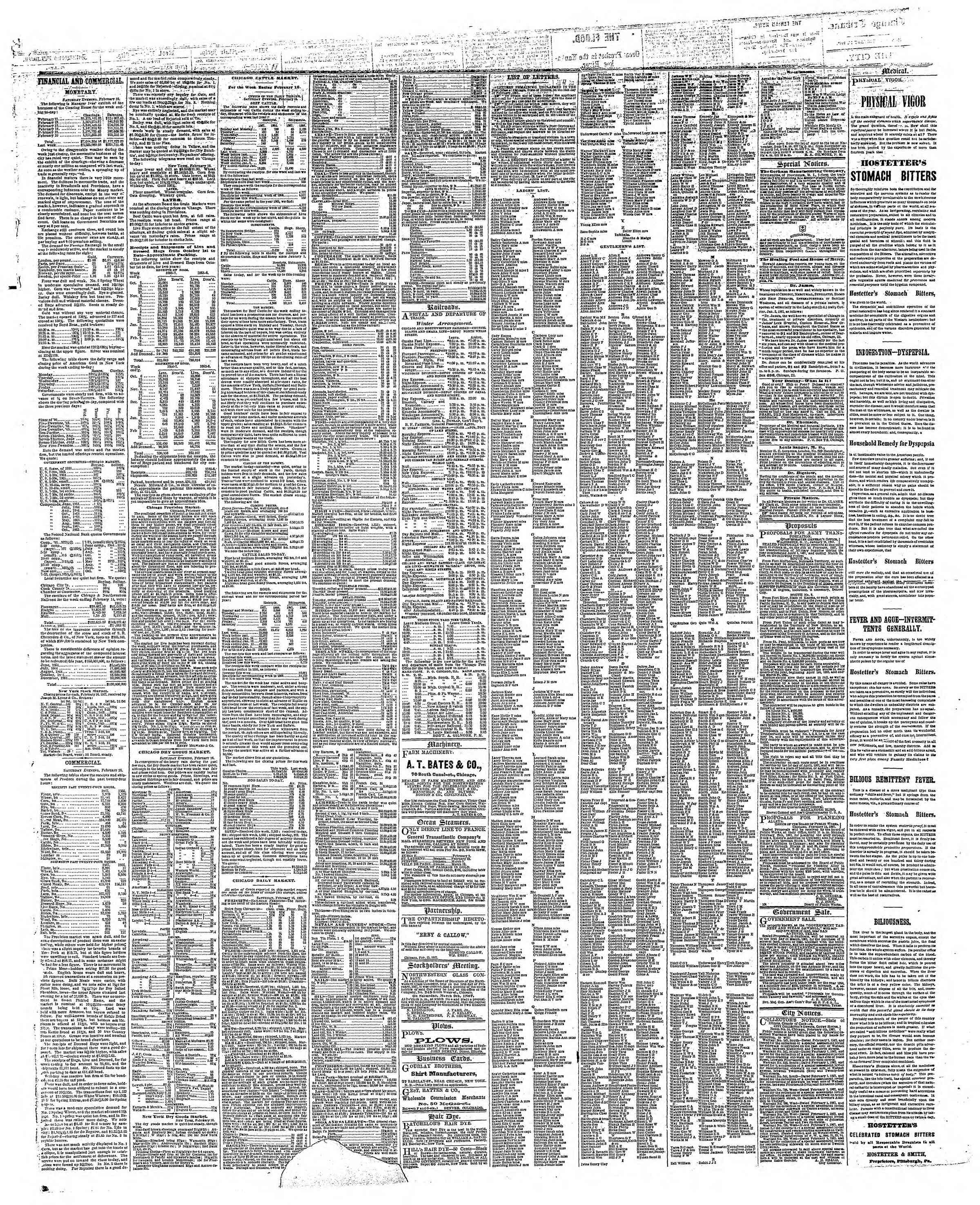 Newspaper of The Chicago Tribune dated 18 Şubat 1867 Page 3