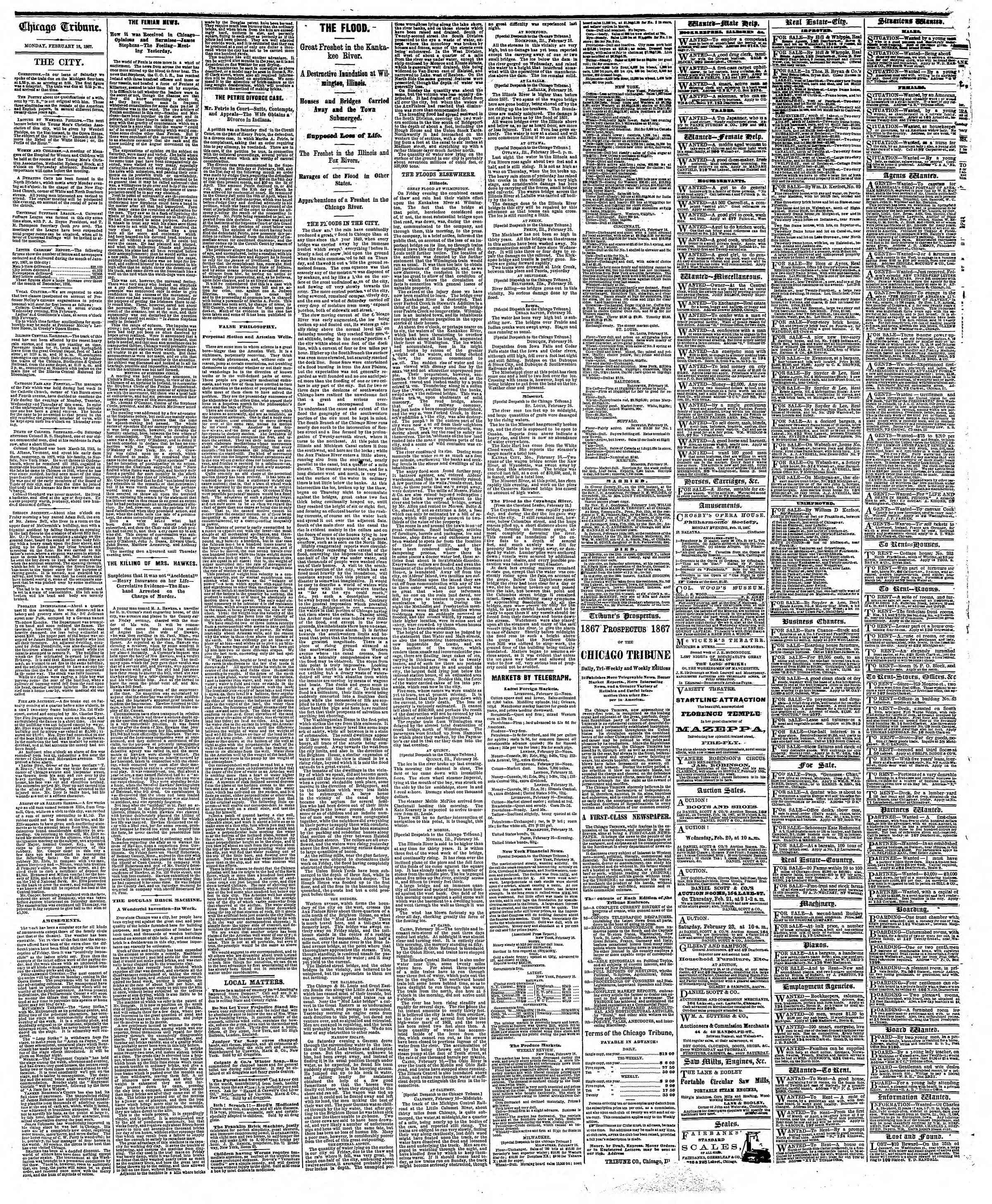 Newspaper of The Chicago Tribune dated February 18, 1867 Page 4