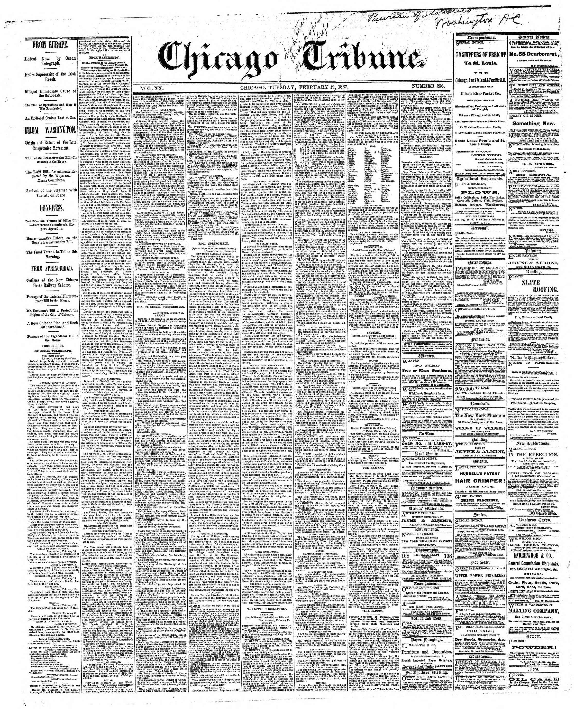 Newspaper of The Chicago Tribune dated February 19, 1867 Page 1