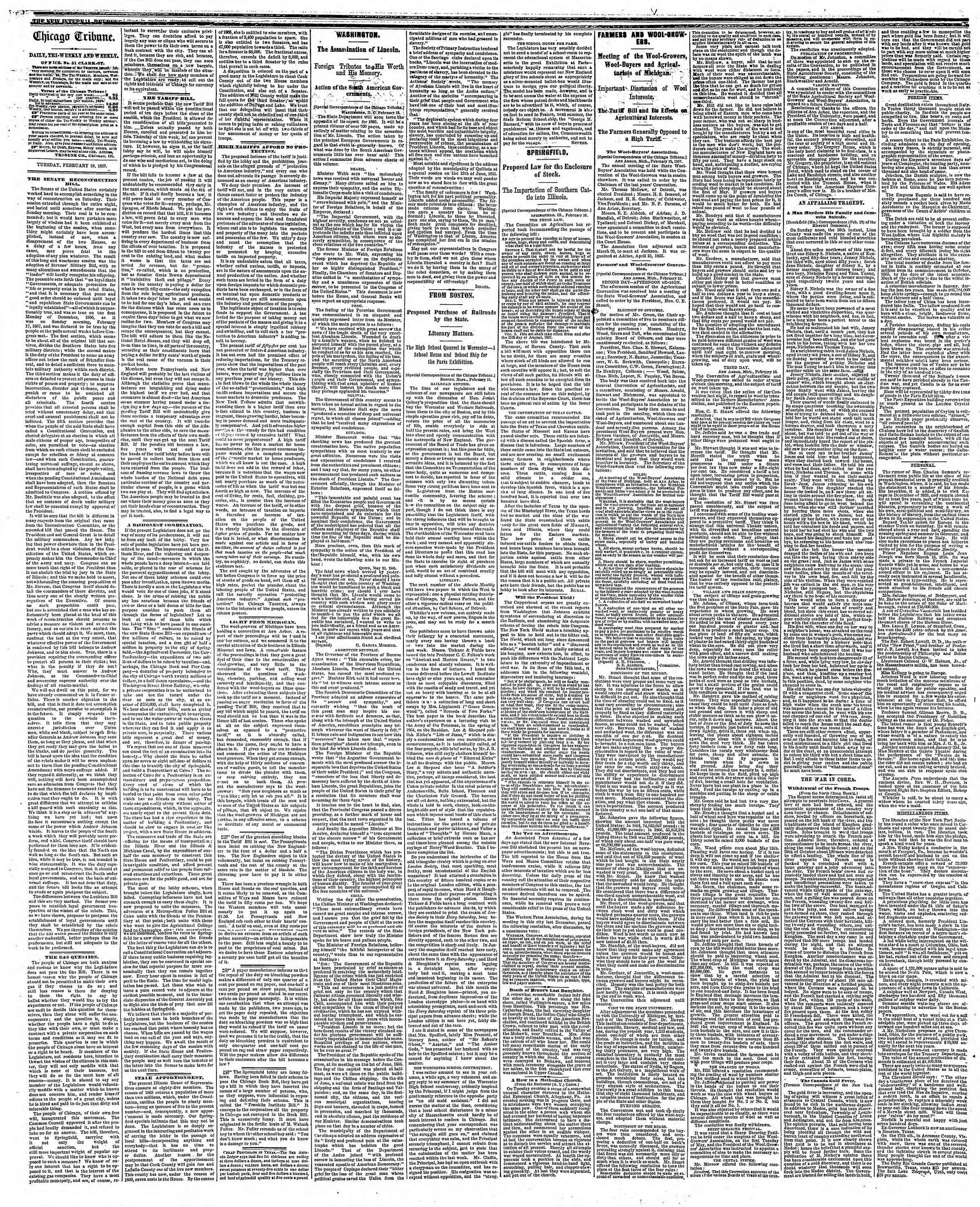 Newspaper of The Chicago Tribune dated February 19, 1867 Page 2