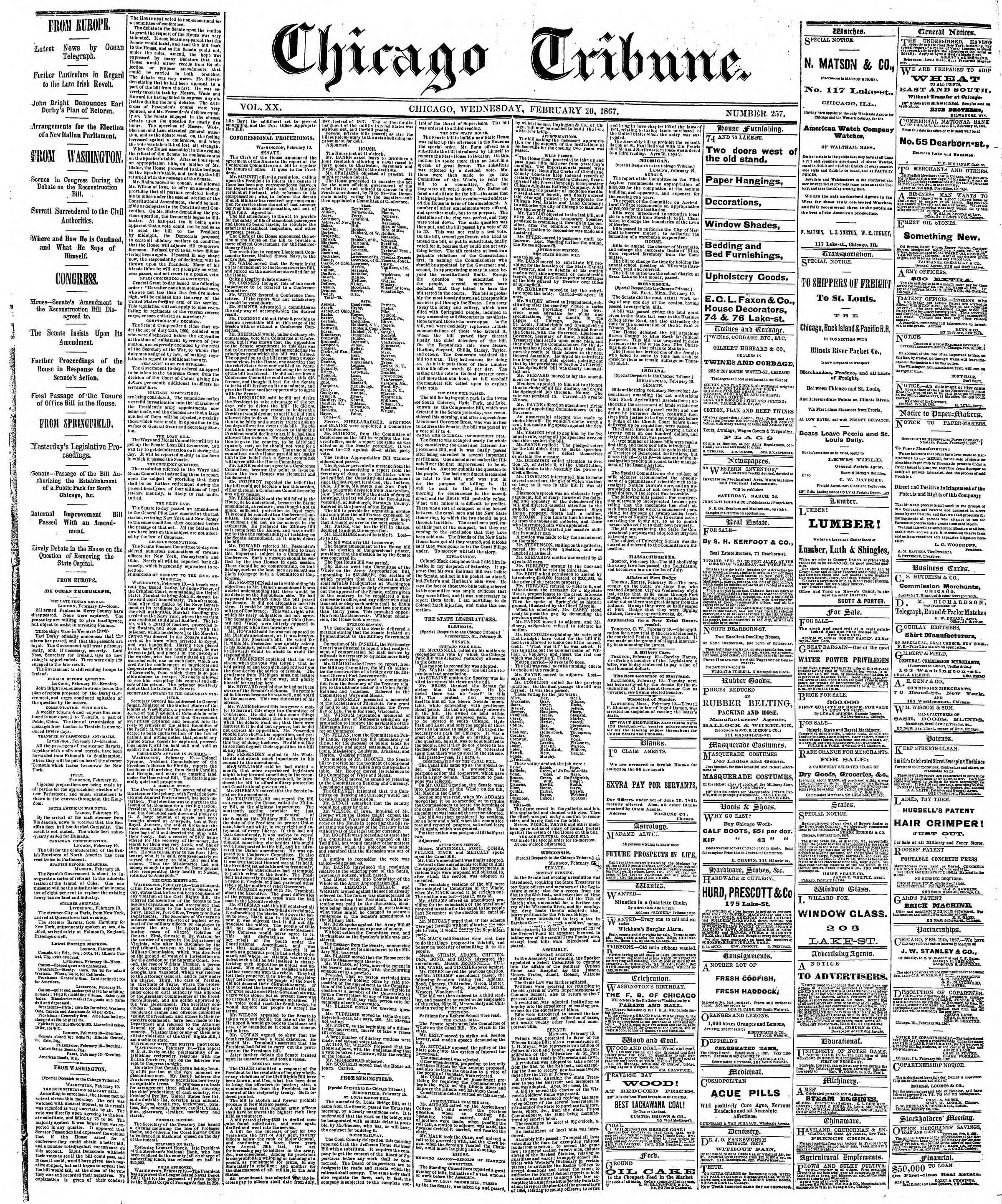 Newspaper of The Chicago Tribune dated February 20, 1867 Page 1