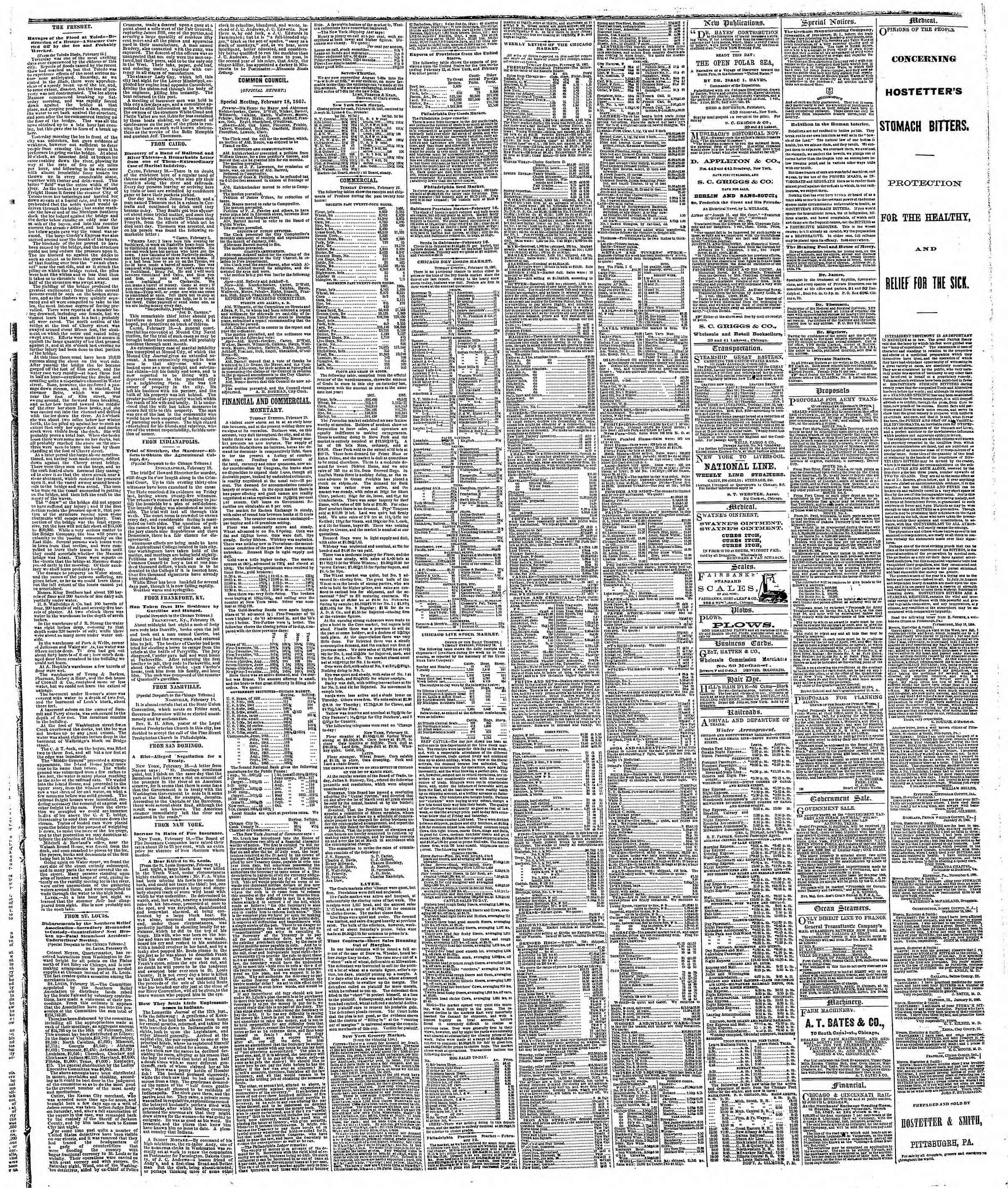 Newspaper of The Chicago Tribune dated February 20, 1867 Page 3