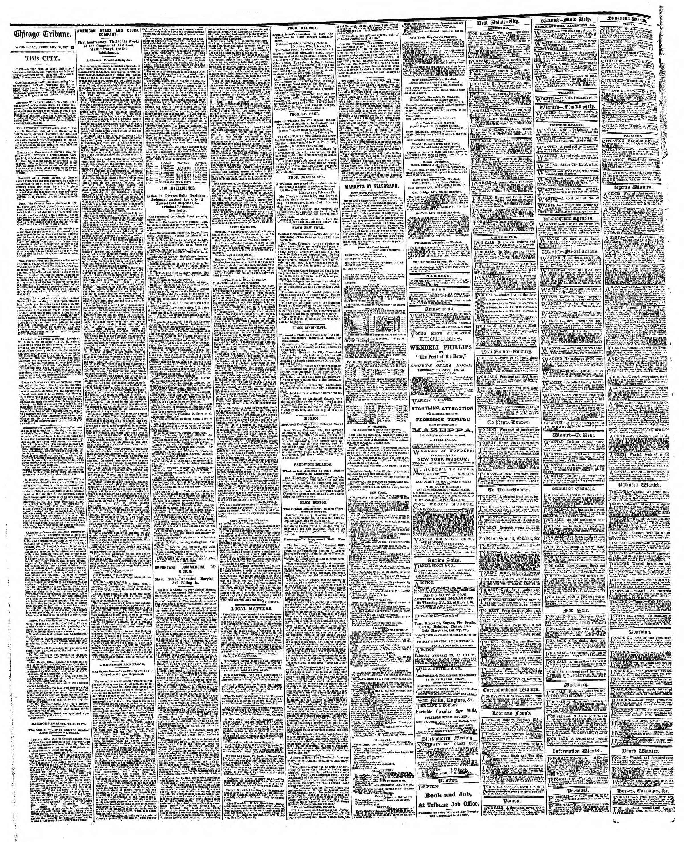 Newspaper of The Chicago Tribune dated February 20, 1867 Page 4