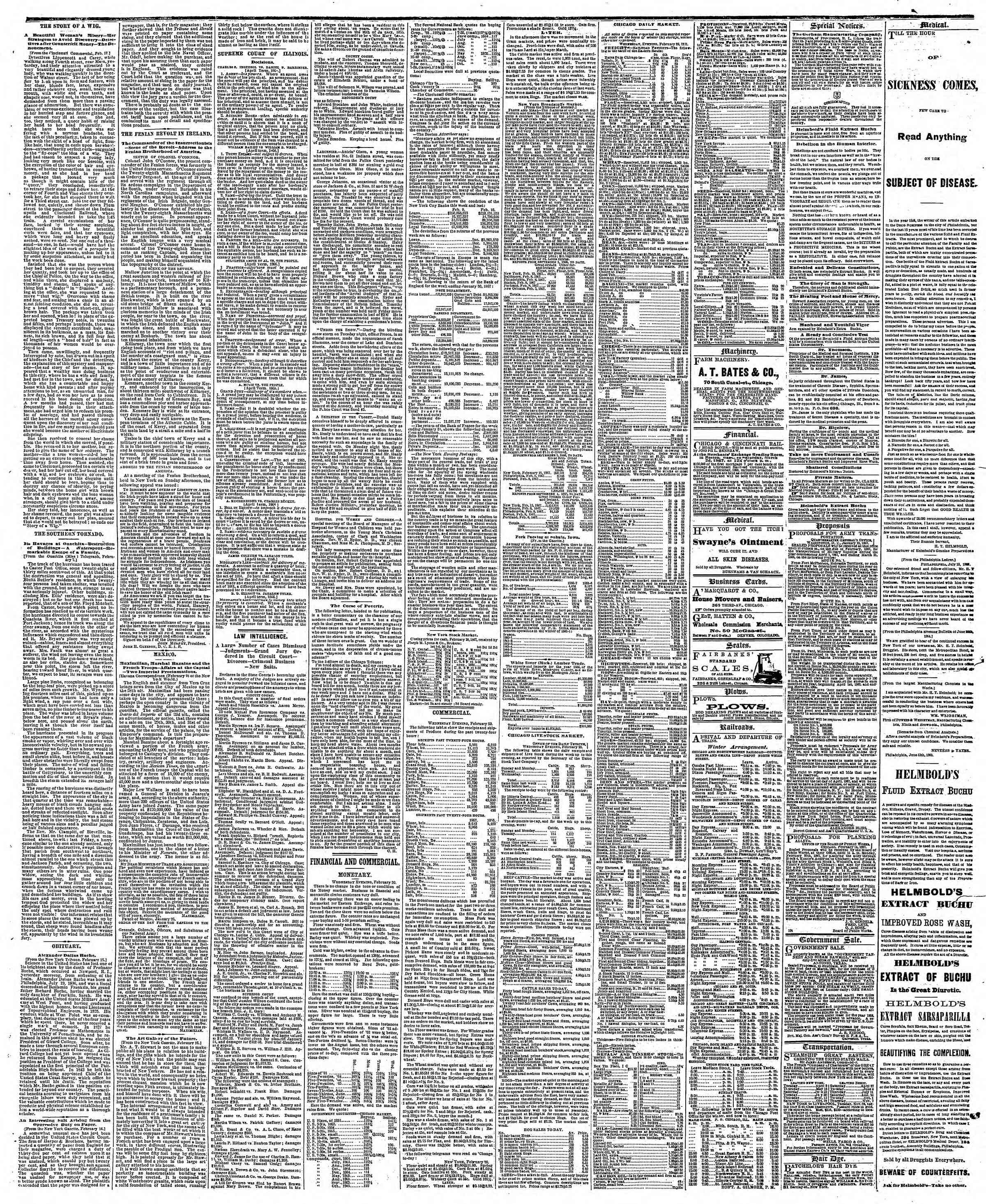 Newspaper of The Chicago Tribune dated February 21, 1867 Page 3