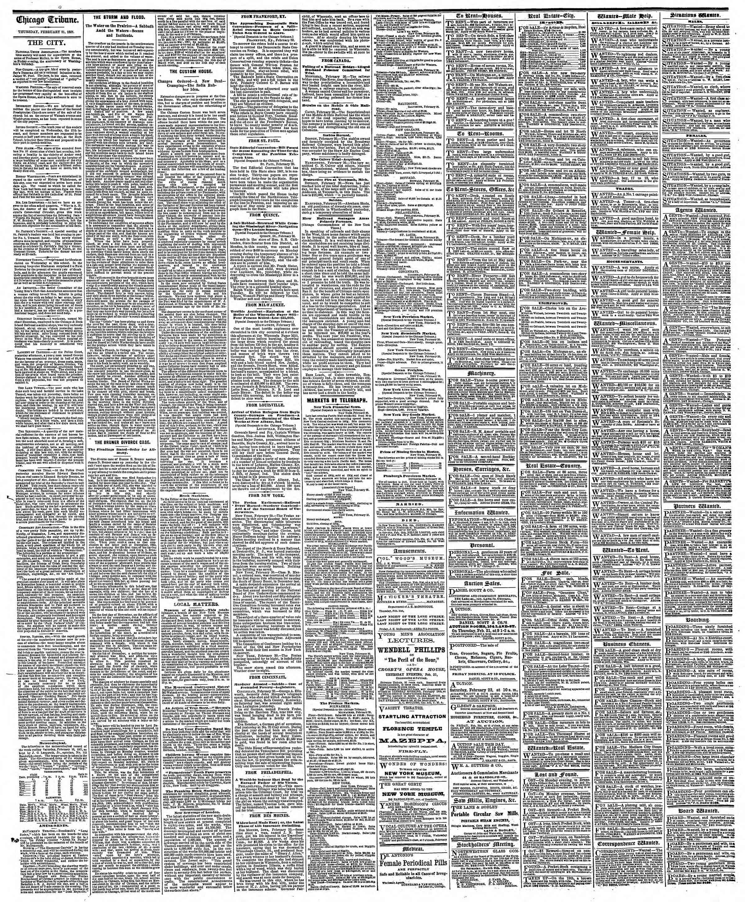 Newspaper of The Chicago Tribune dated February 21, 1867 Page 4