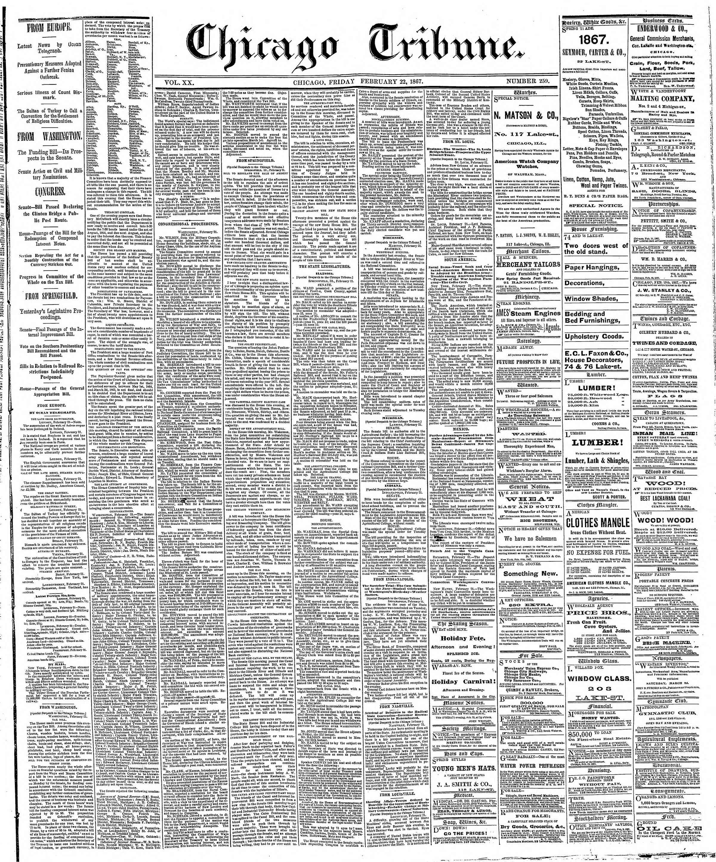 Newspaper of The Chicago Tribune dated February 22, 1867 Page 1