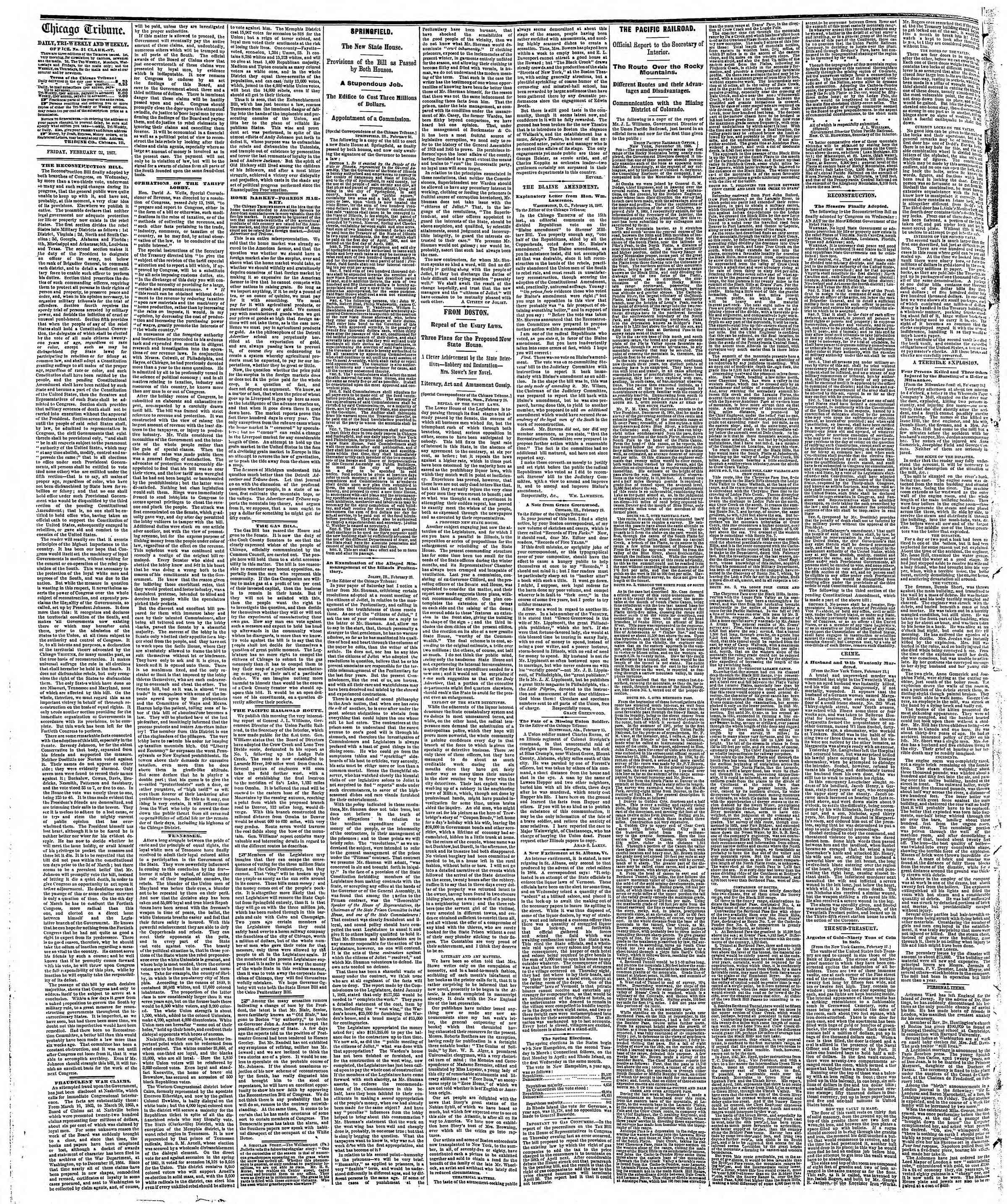 Newspaper of The Chicago Tribune dated February 22, 1867 Page 2
