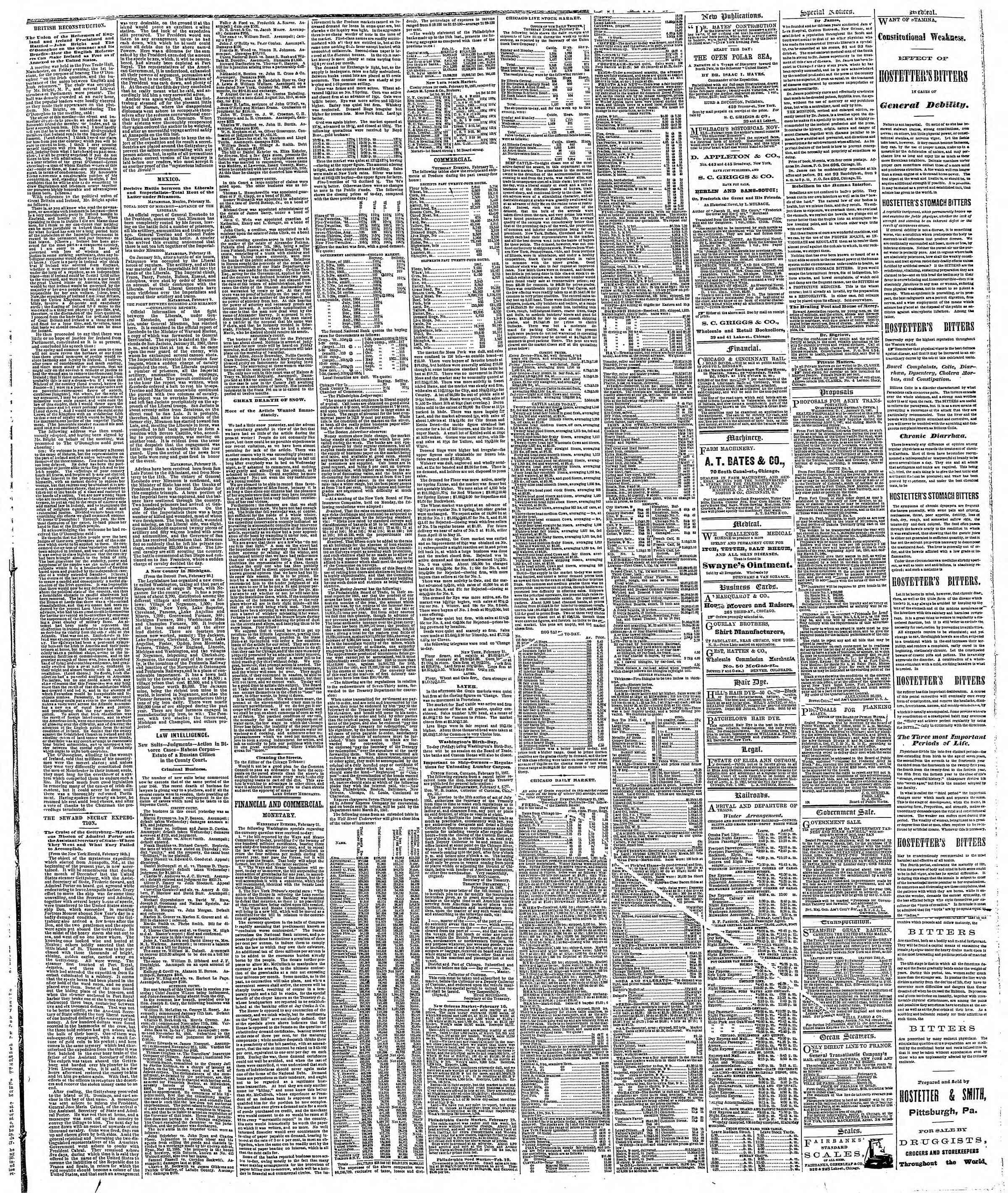 Newspaper of The Chicago Tribune dated 22 Şubat 1867 Page 3