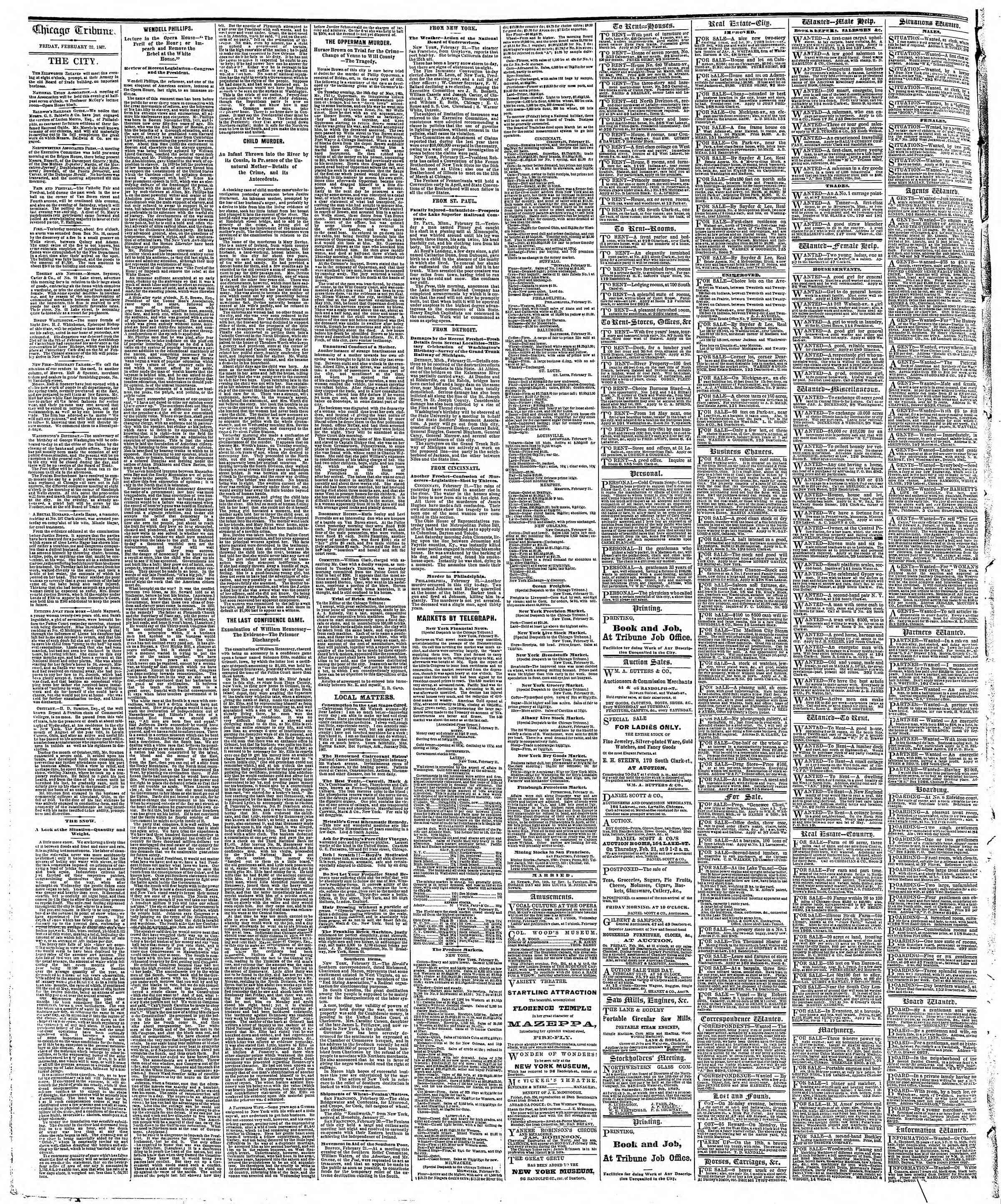 Newspaper of The Chicago Tribune dated February 22, 1867 Page 4