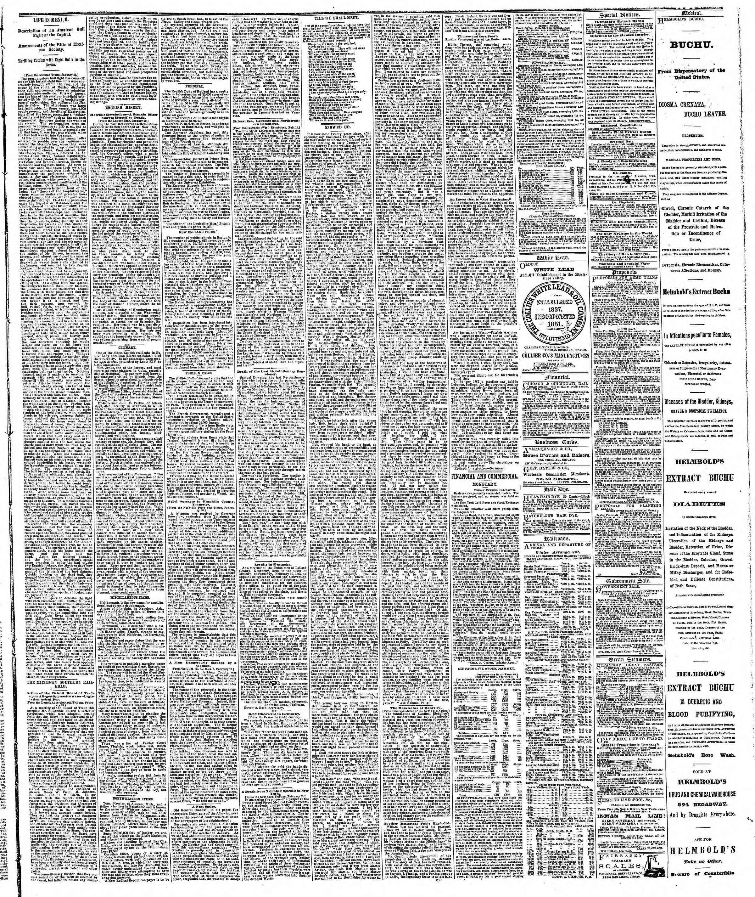 Newspaper of The Chicago Tribune dated February 23, 1867 Page 3