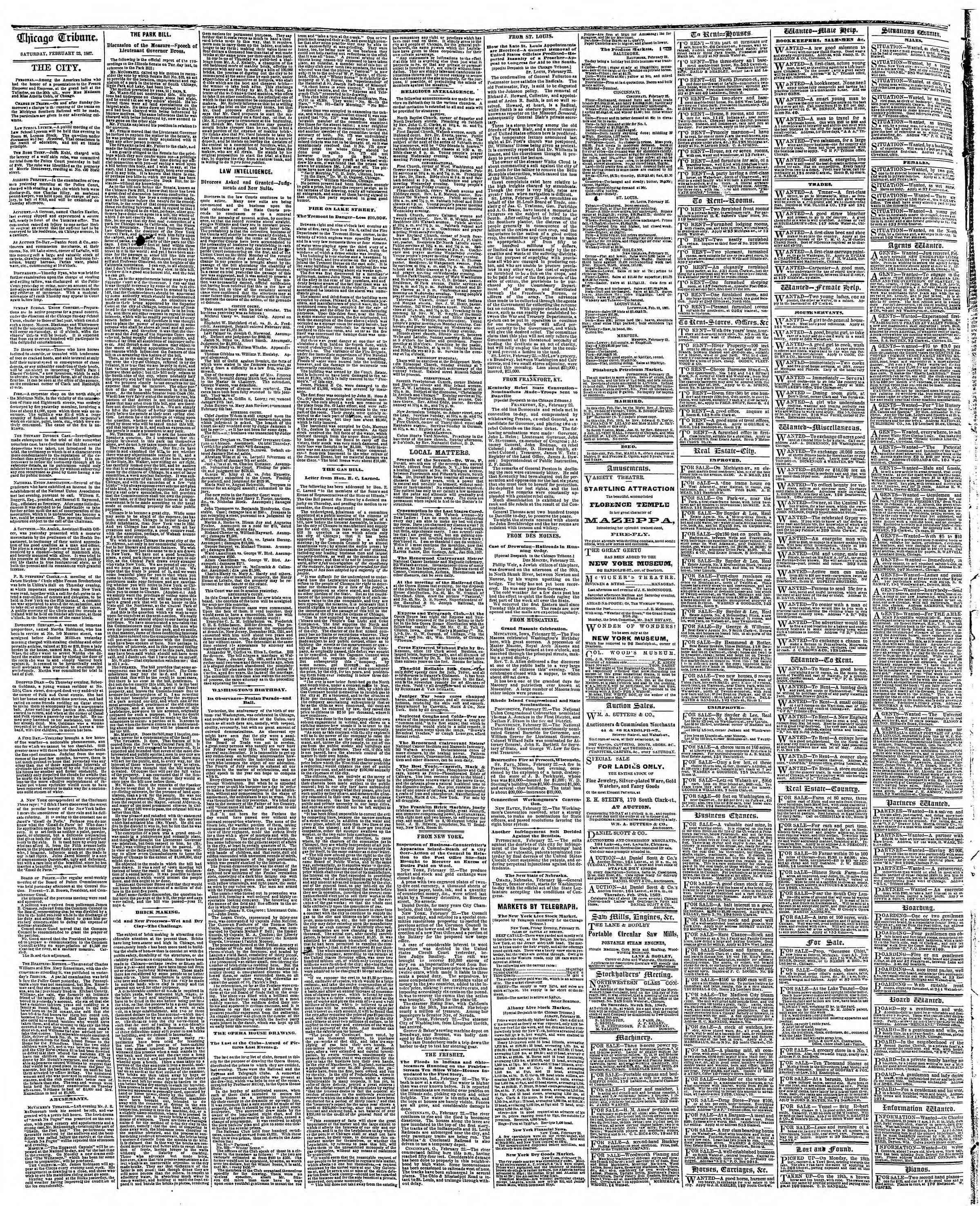 Newspaper of The Chicago Tribune dated February 23, 1867 Page 4