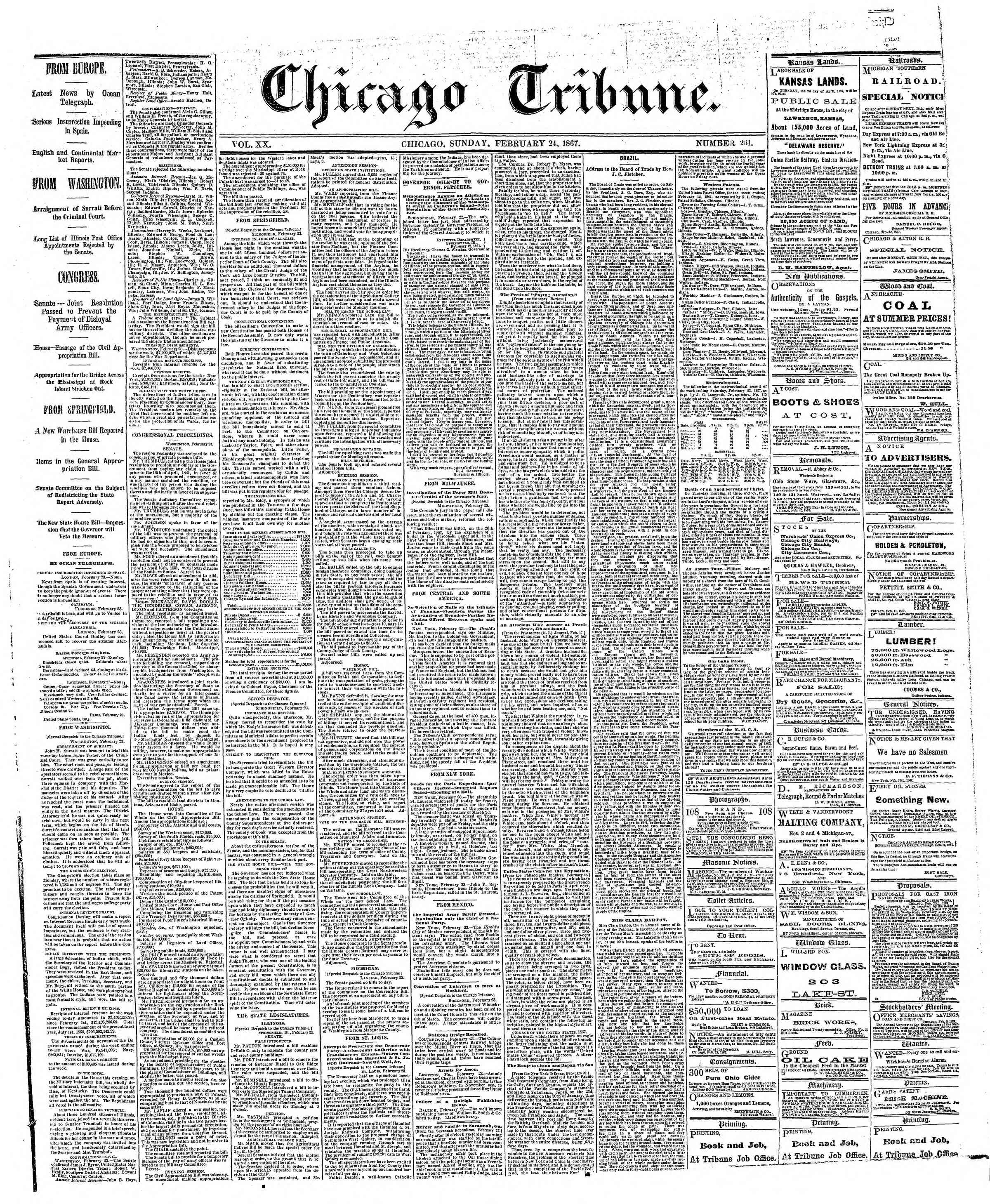 Newspaper of The Chicago Tribune dated February 24, 1867 Page 1