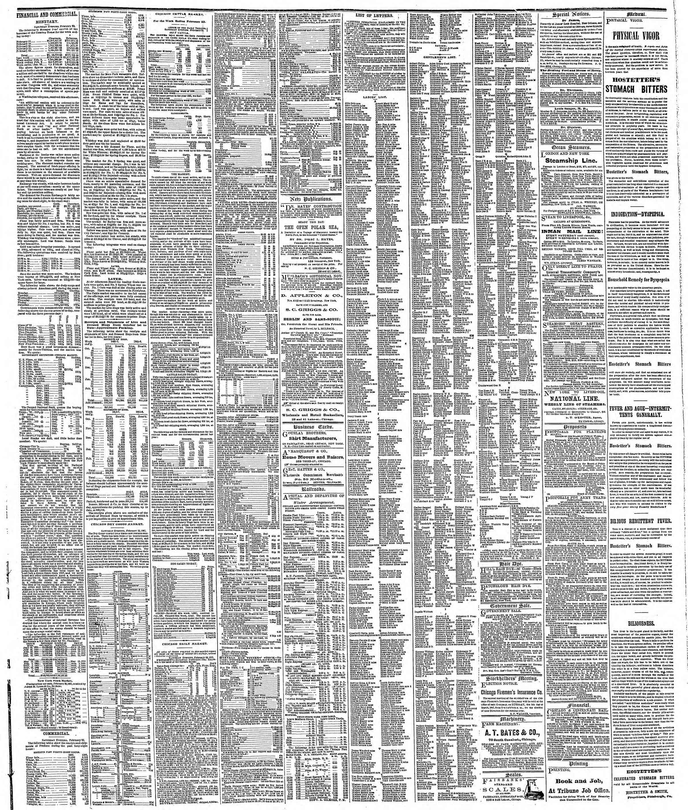 Newspaper of The Chicago Tribune dated February 25, 1867 Page 3