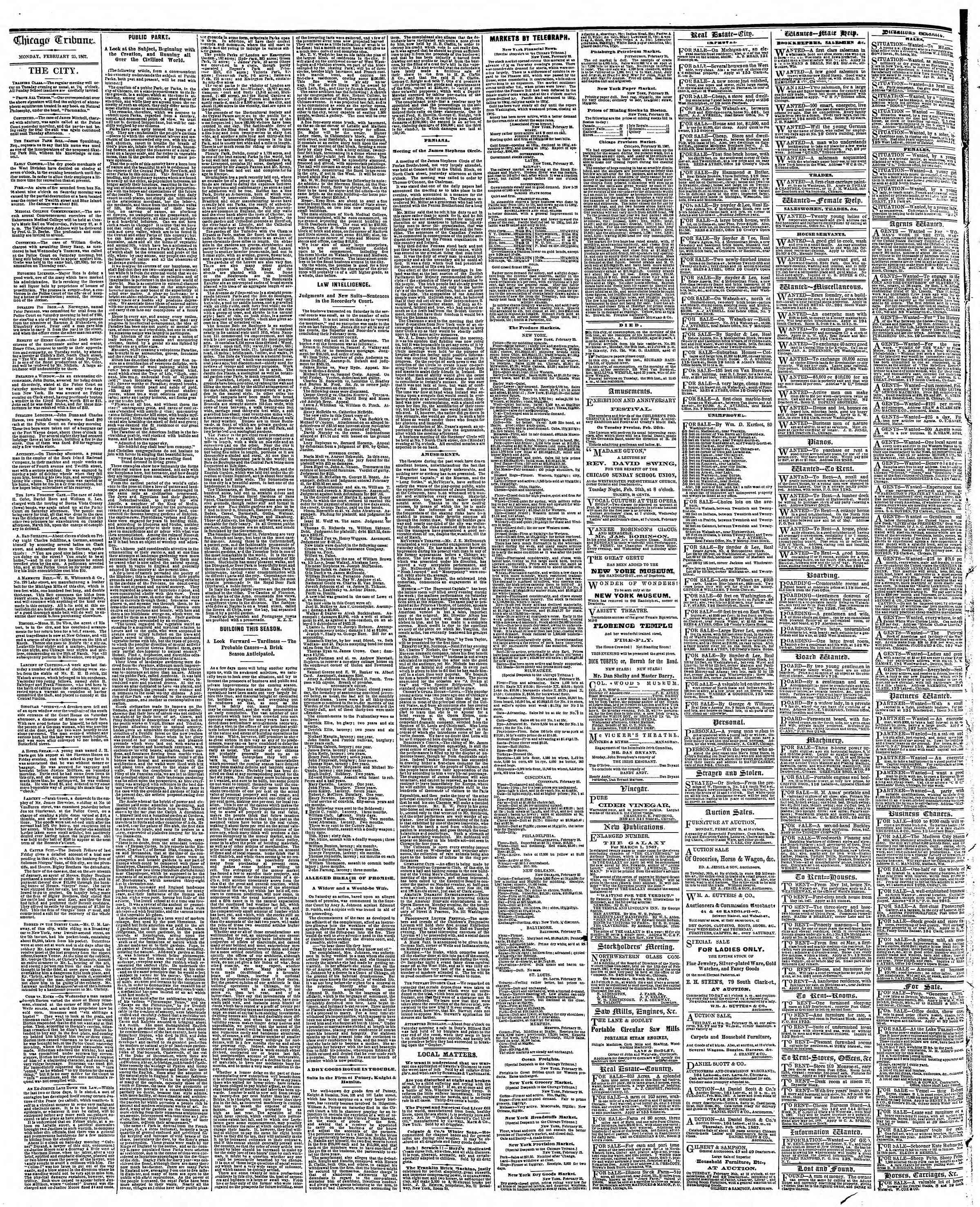 Newspaper of The Chicago Tribune dated February 25, 1867 Page 4