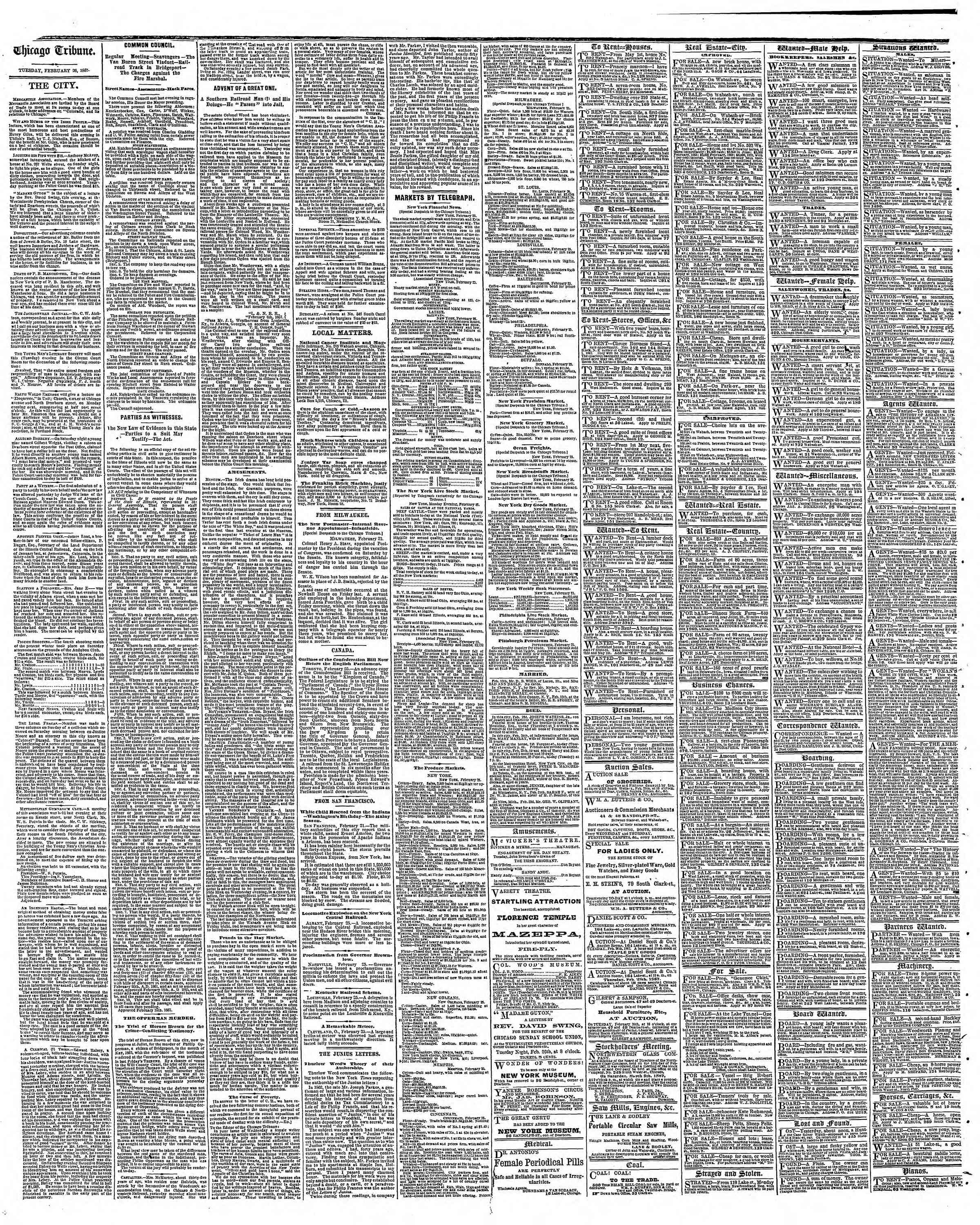 Newspaper of The Chicago Tribune dated February 26, 1867 Page 4