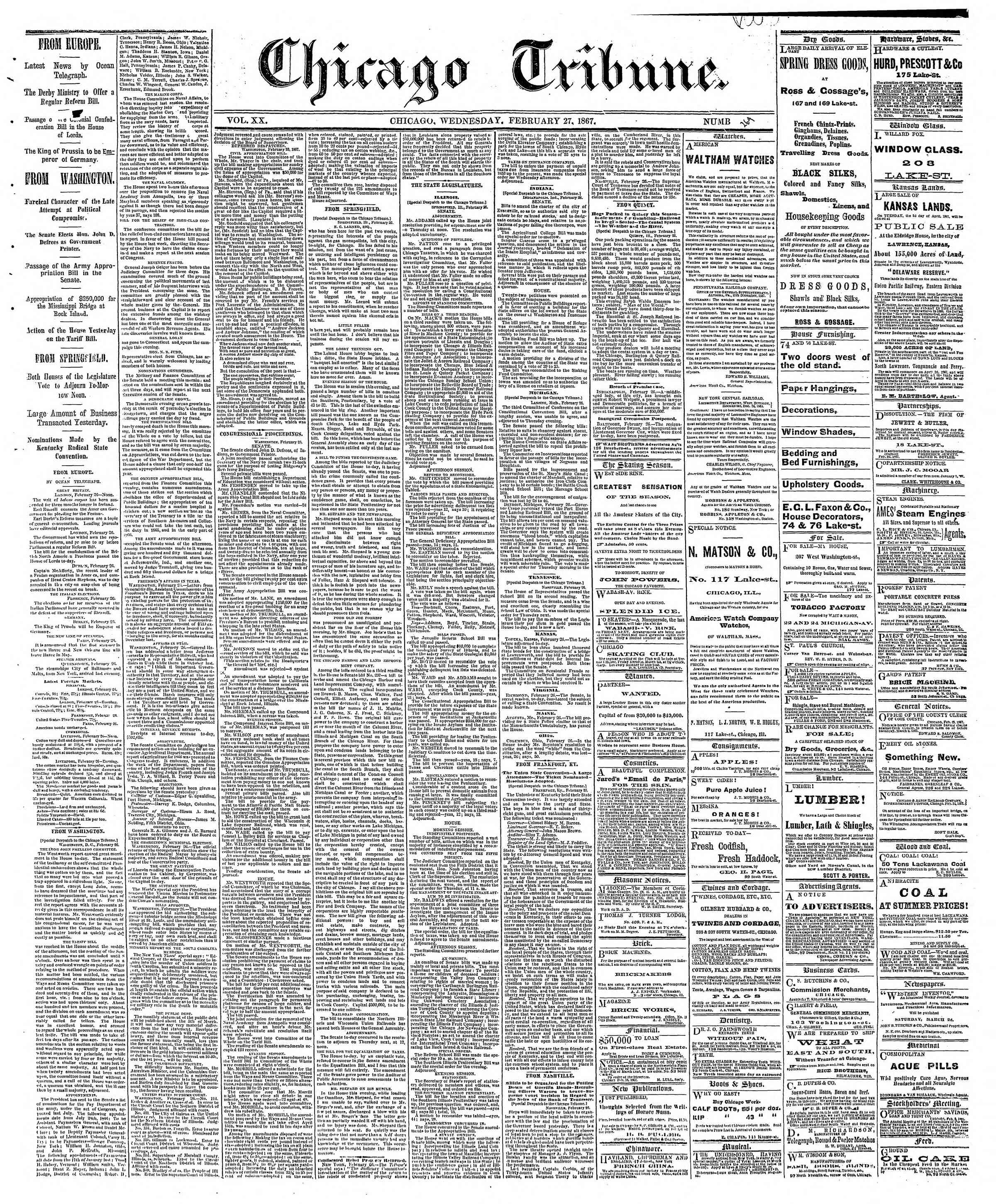 Newspaper of The Chicago Tribune dated February 27, 1867 Page 1