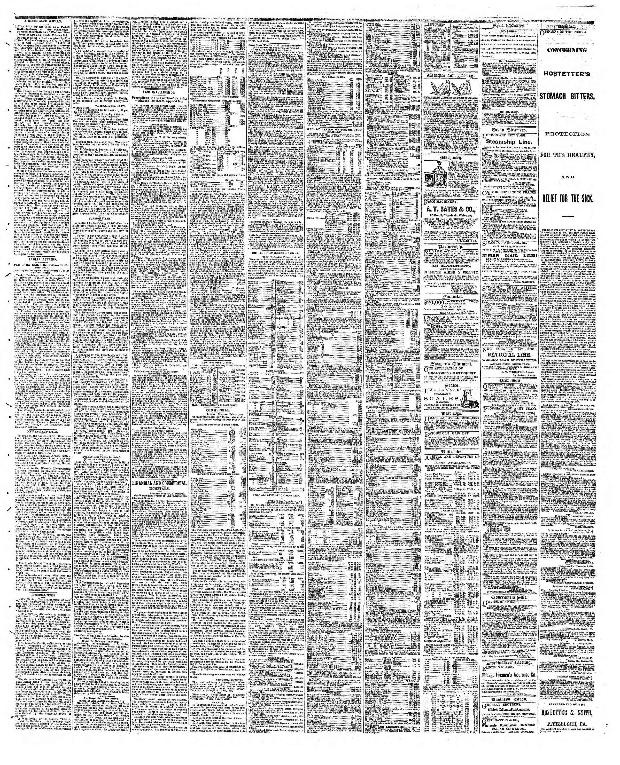Newspaper of The Chicago Tribune dated February 27, 1867 Page 3